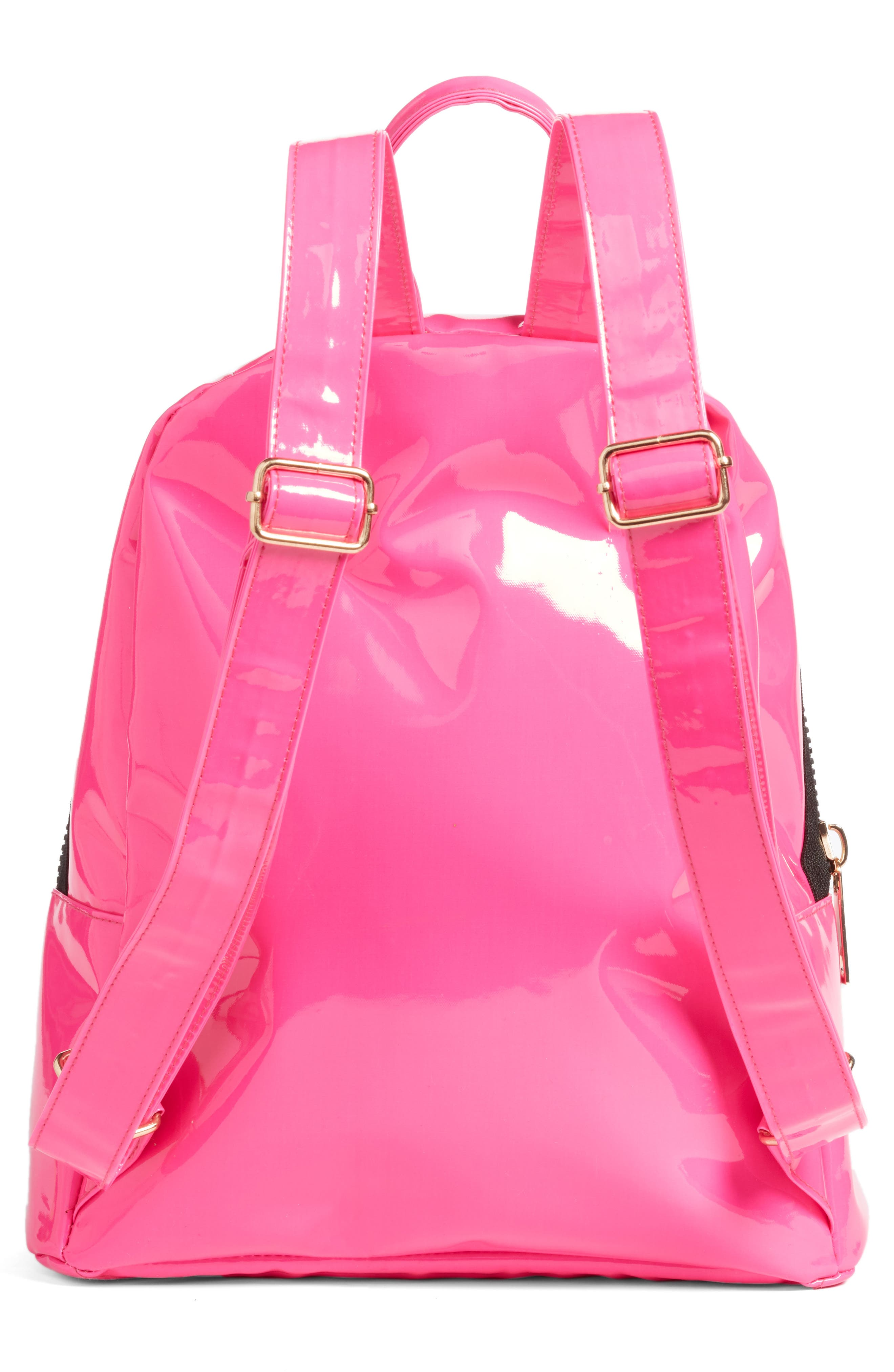 JANE & BERRY, Double Zip Faux Patent Leather Backpack, Alternate thumbnail 3, color, PINK