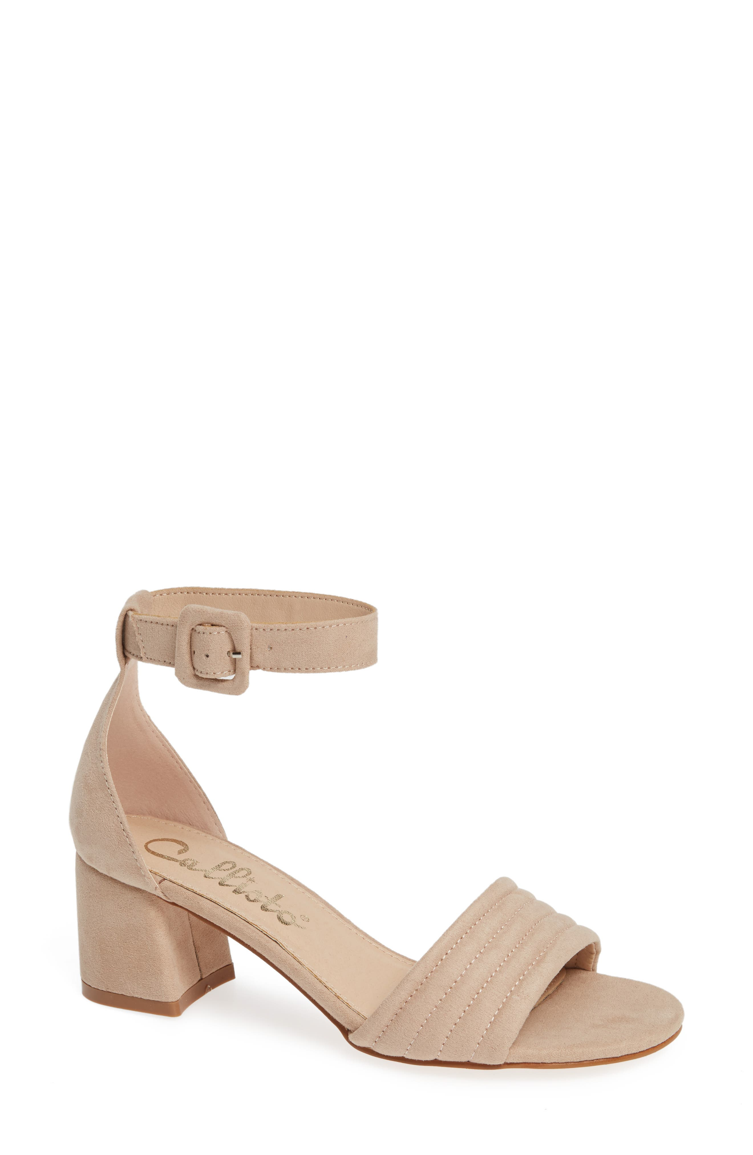 CALLISTO Puffye Ankle Strap Sandal, Main, color, BLUSH SUEDE SYNTHETIC