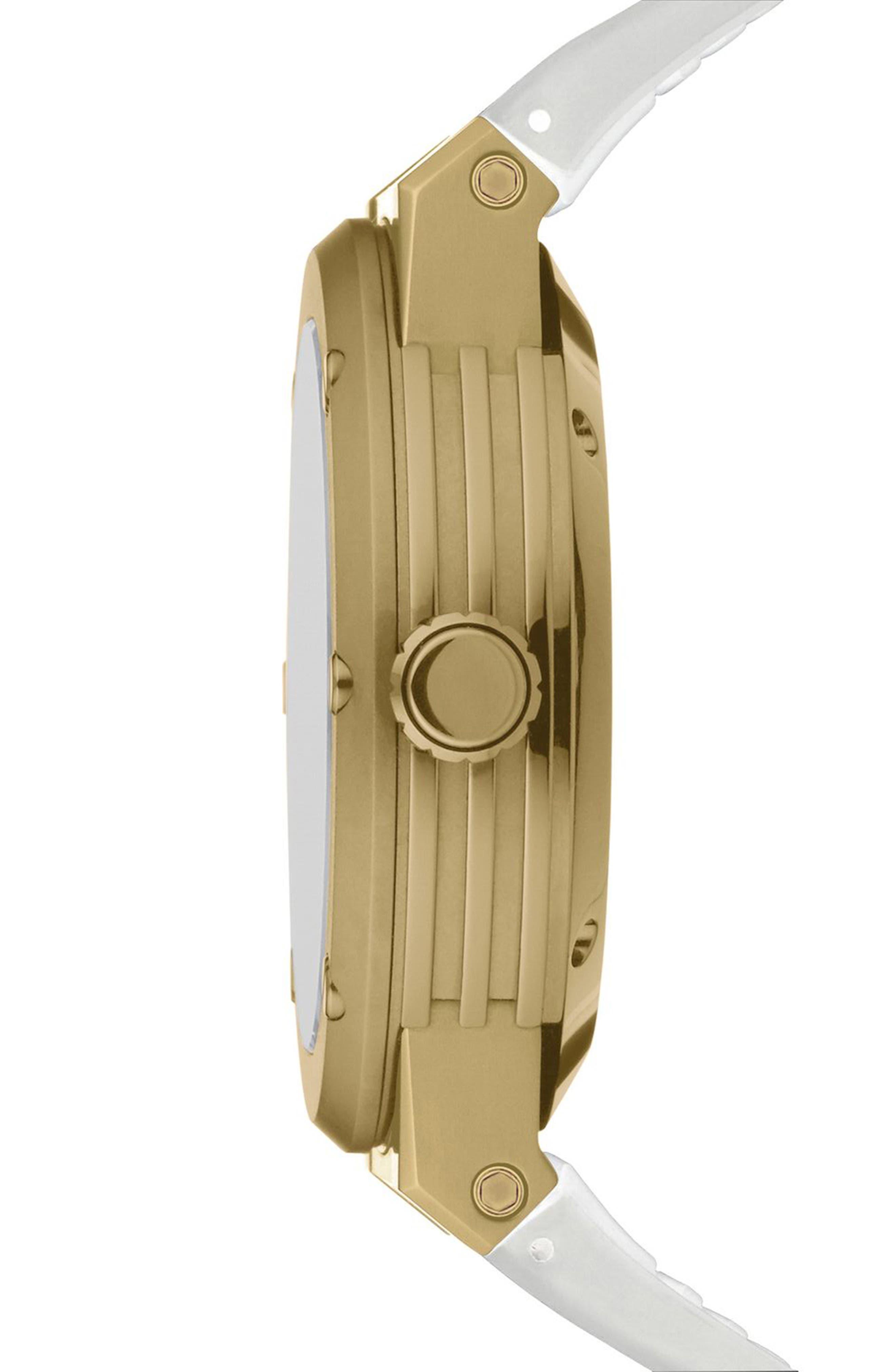 SALVATORE FERRAGAMO, F-80 Motion Rubber Strap Smart Watch, 44mm, Alternate thumbnail 2, color, WHITE/ MOP/ GOLD