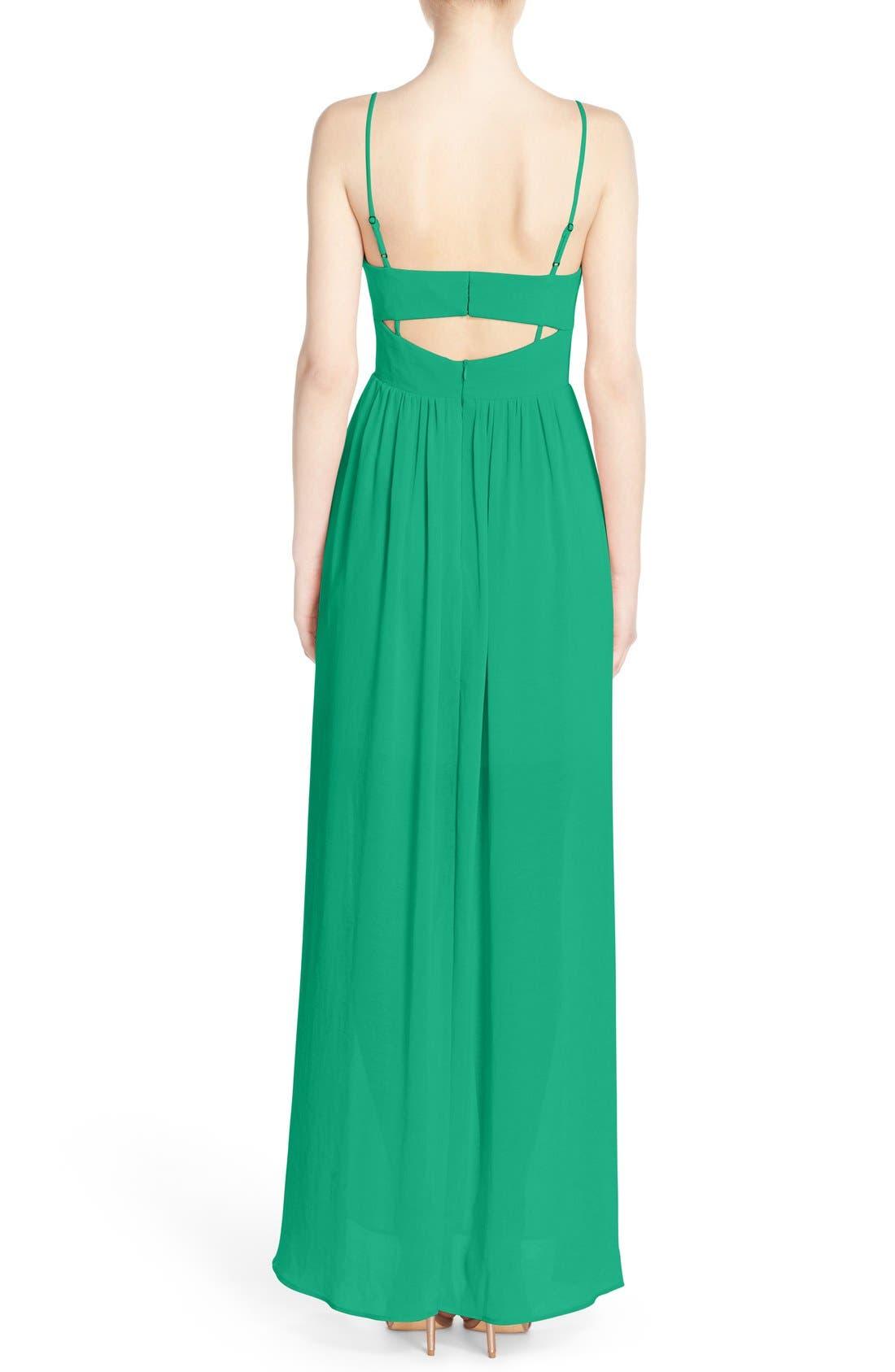 ADELYN RAE, Cutout Back Chiffon Maxi Dress, Alternate thumbnail 2, color, 340