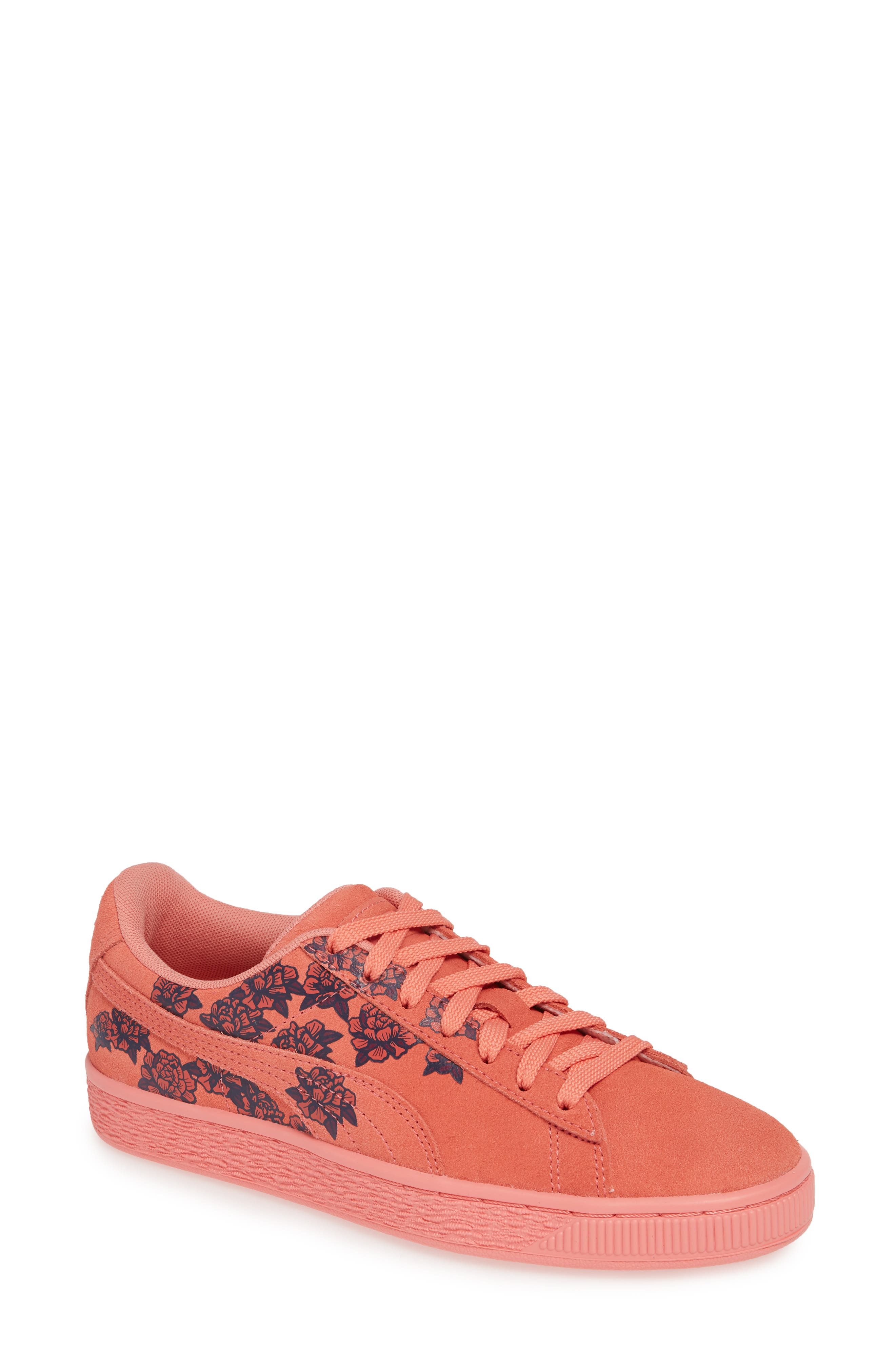 PUMA, Suede TOL Graphic Sneaker, Main thumbnail 1, color, SHELL PINK