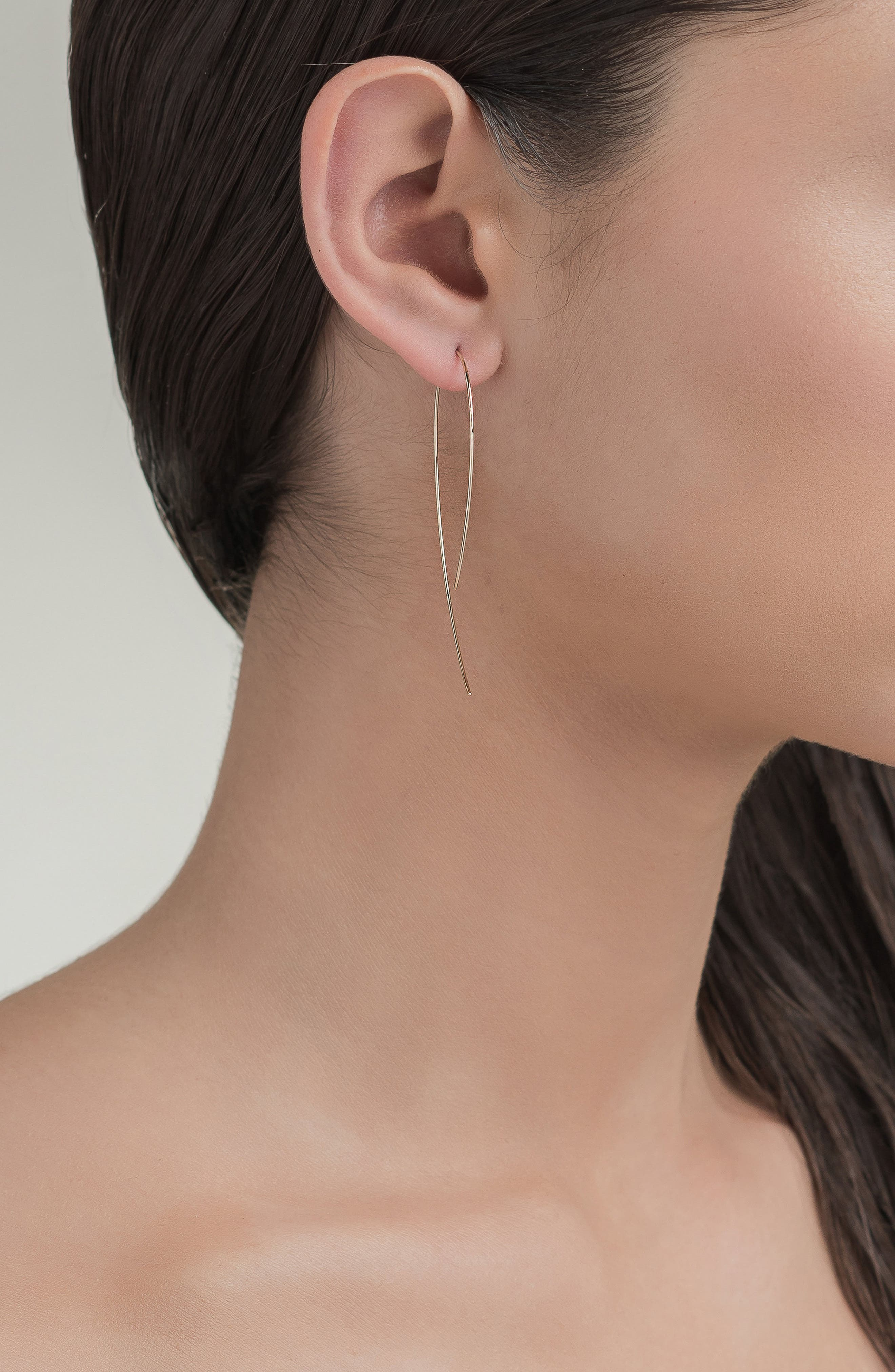 LANA JEWELRY, 'Hooked on Hoop' Earrings, Alternate thumbnail 3, color, YELLOW GOLD