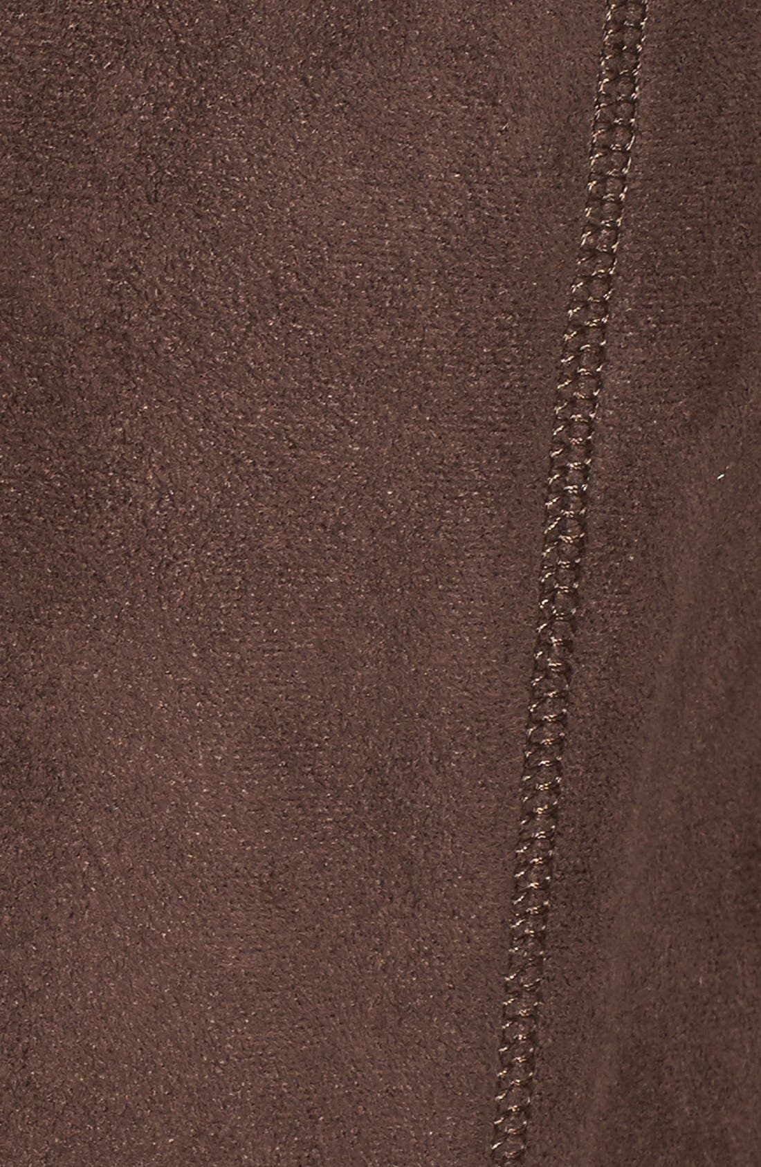 GALLERY, Hooded Faux Shearling Long A-Line Coat, Alternate thumbnail 4, color, CHOCOLATE