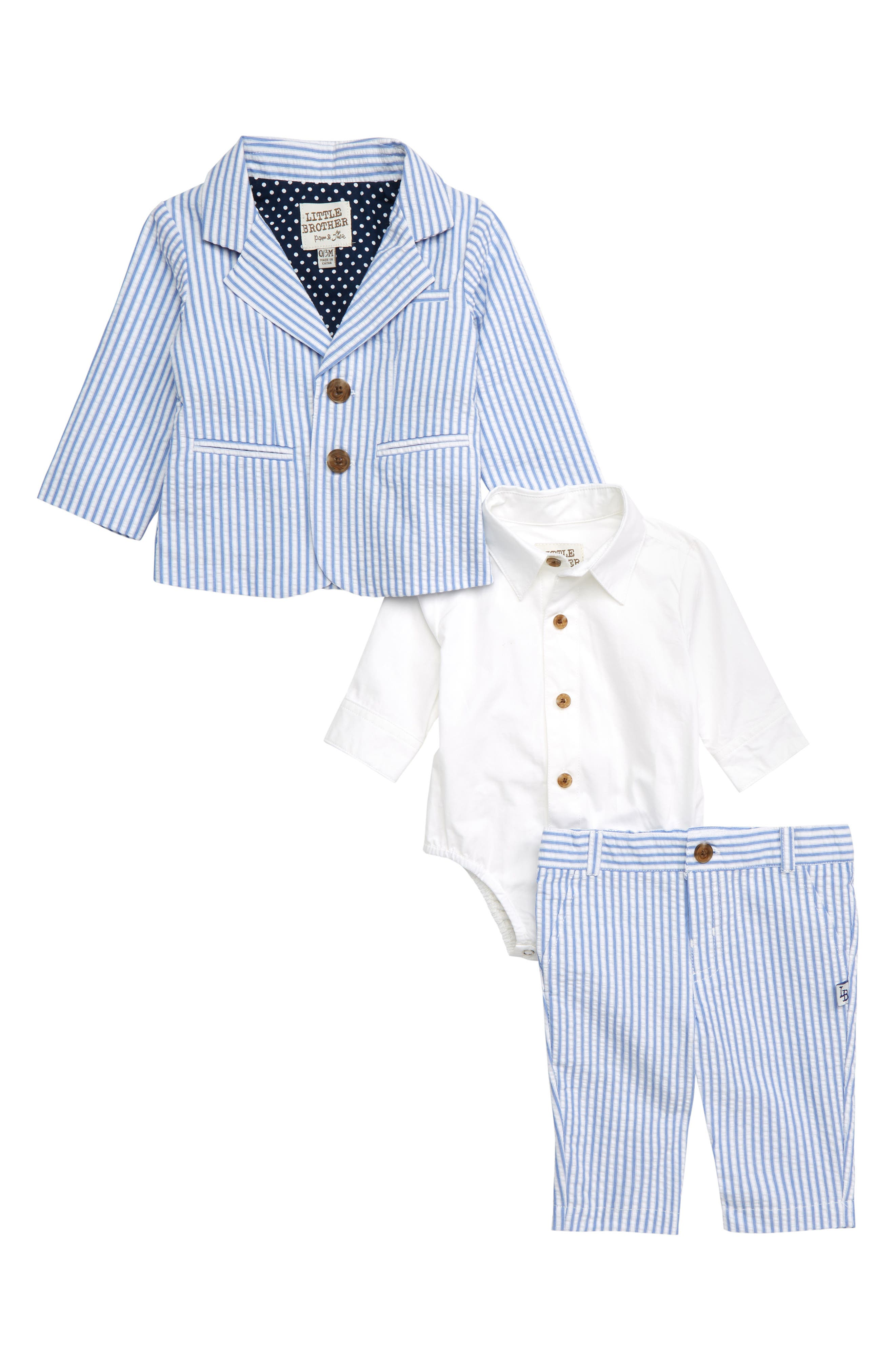 LITTLE BROTHER BY PIPPA & JULIE, Seersucker Suit Set, Main thumbnail 1, color, BLUE/ WHITE