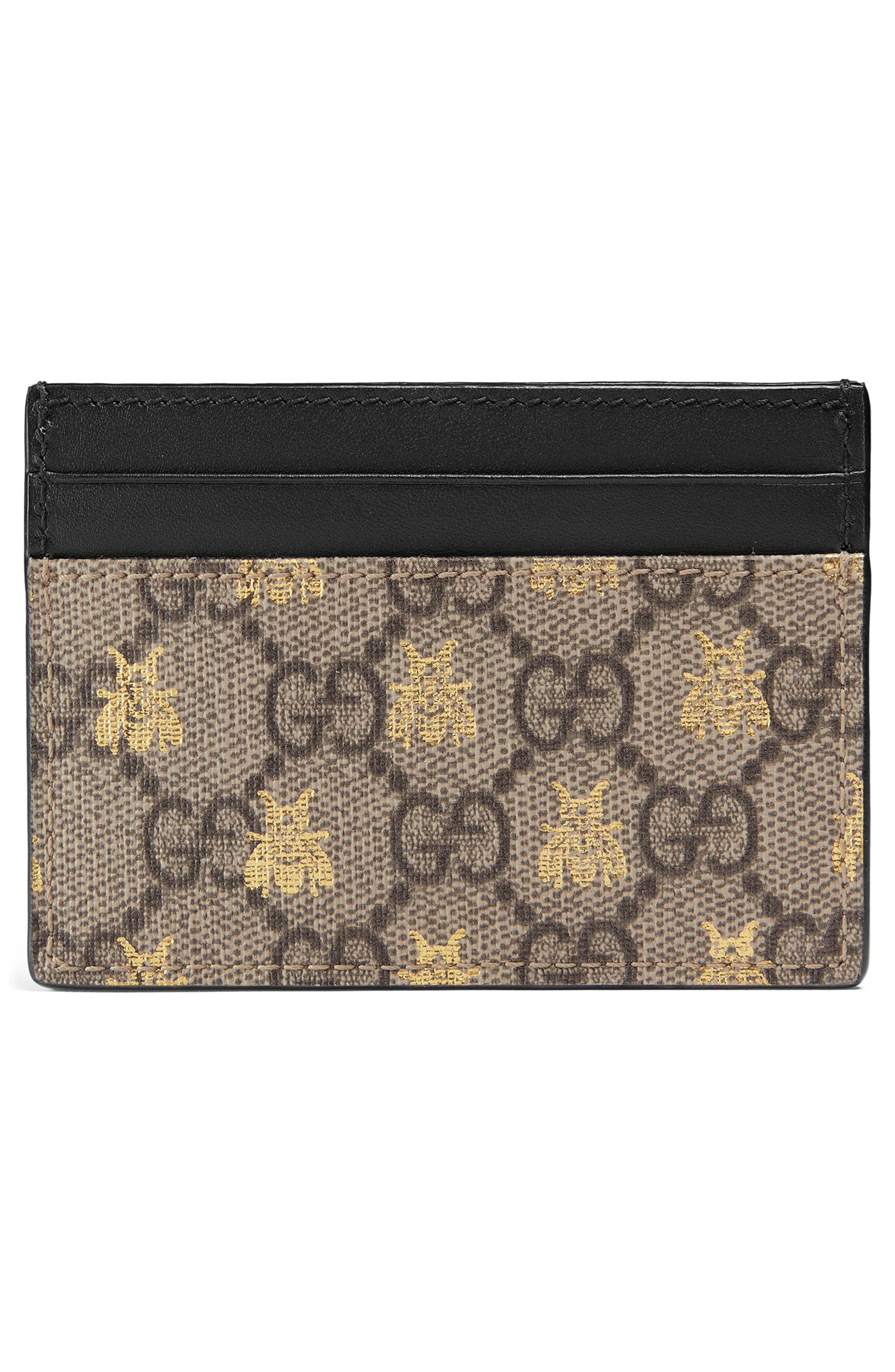 GUCCI, Linea Bee GG Card Case, Alternate thumbnail 3, color, 250