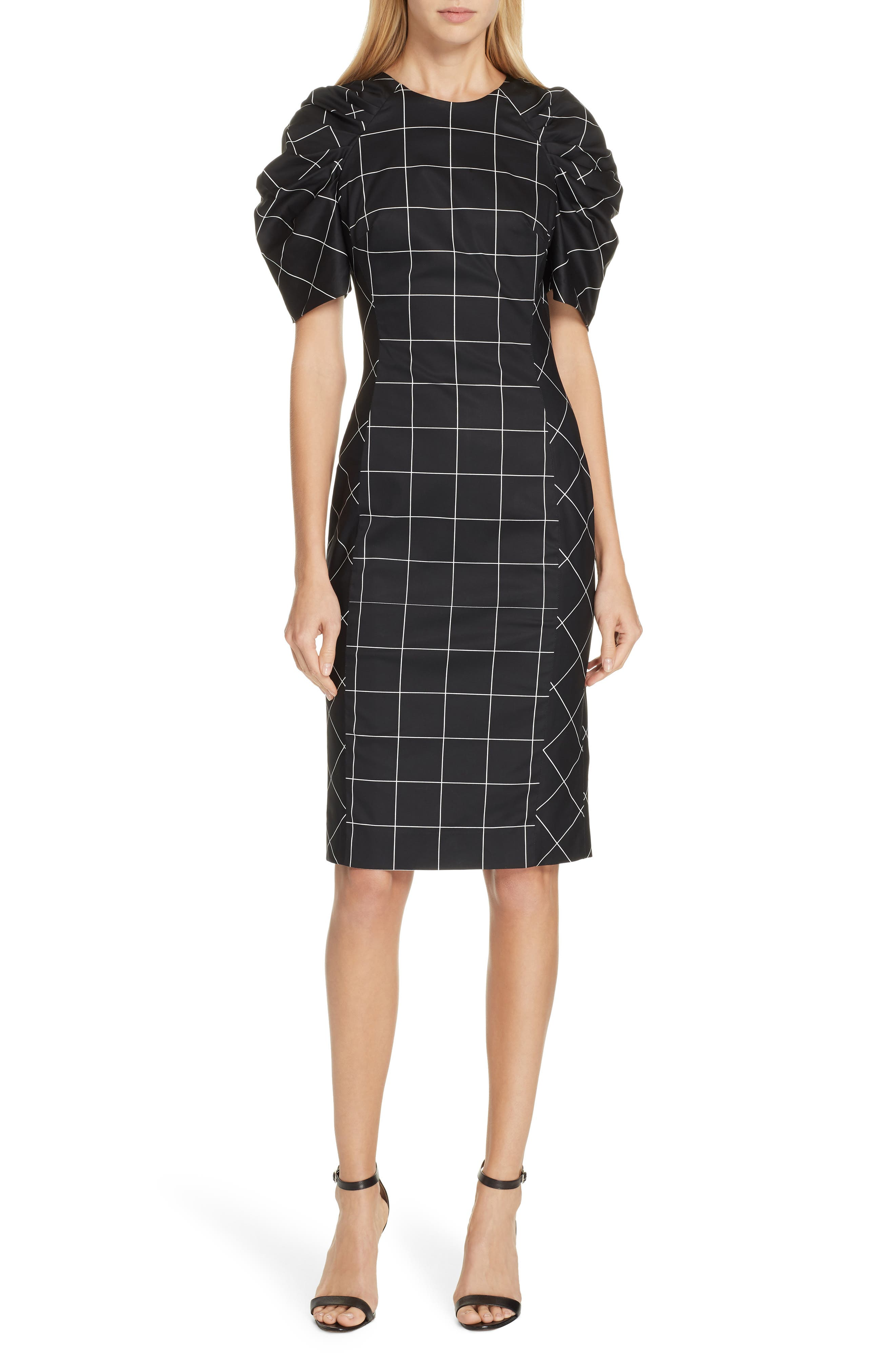 Milly Check Sheath Dress, Black