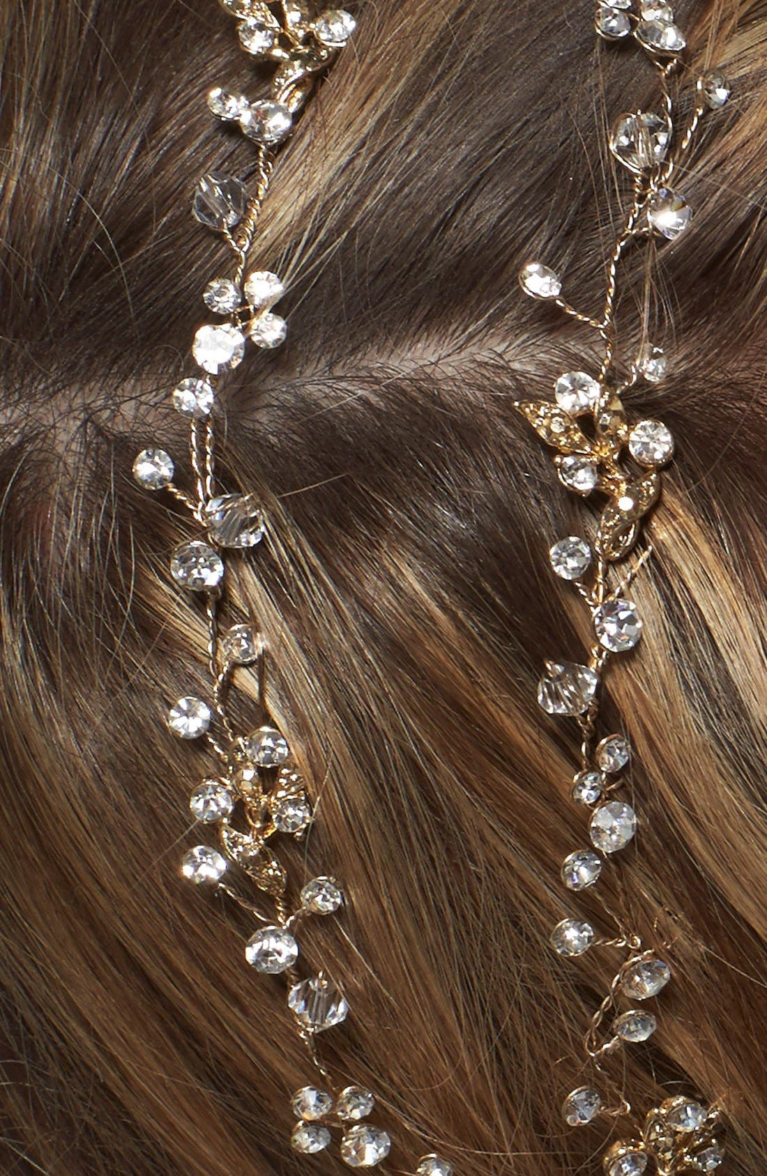 BRIDES & HAIRPINS, 'Gia' Double Banded Halo Headpiece, Alternate thumbnail 4, color, 14 K GOLD