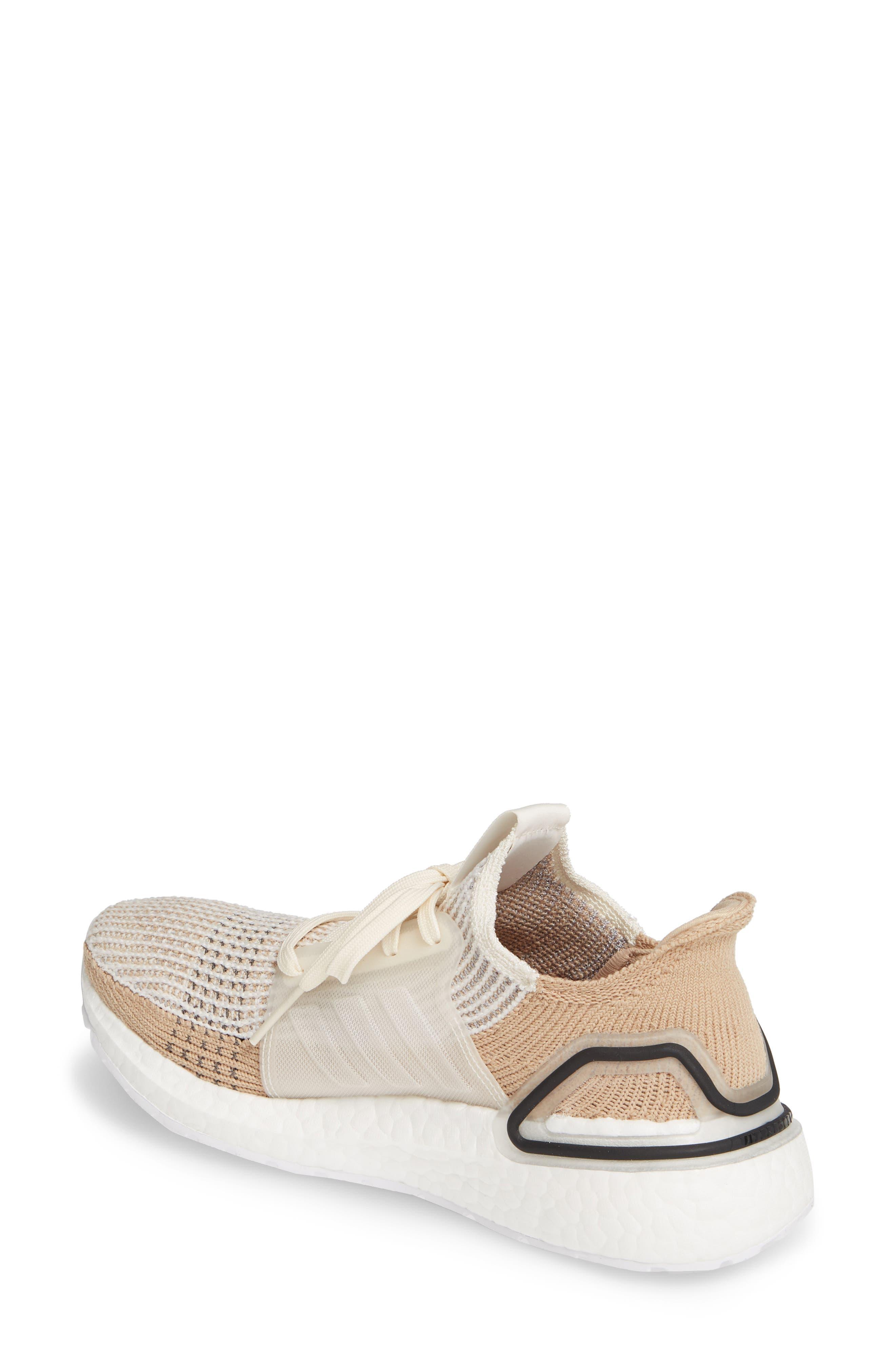 ADIDAS, UltraBoost 19 Running Shoe, Alternate thumbnail 2, color, CHALK WHITE/ PALE NUDE/ BLACK
