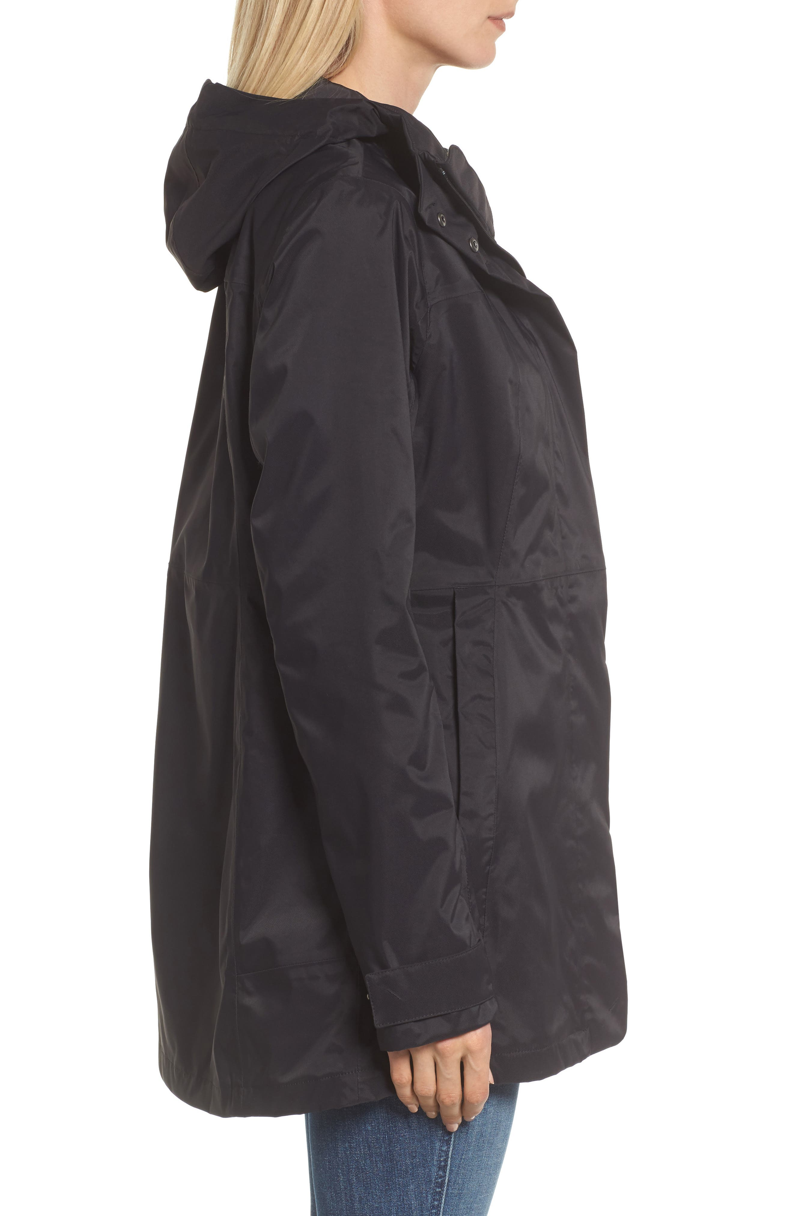 THE NORTH FACE, City Midi Trench Coat, Alternate thumbnail 4, color, 001