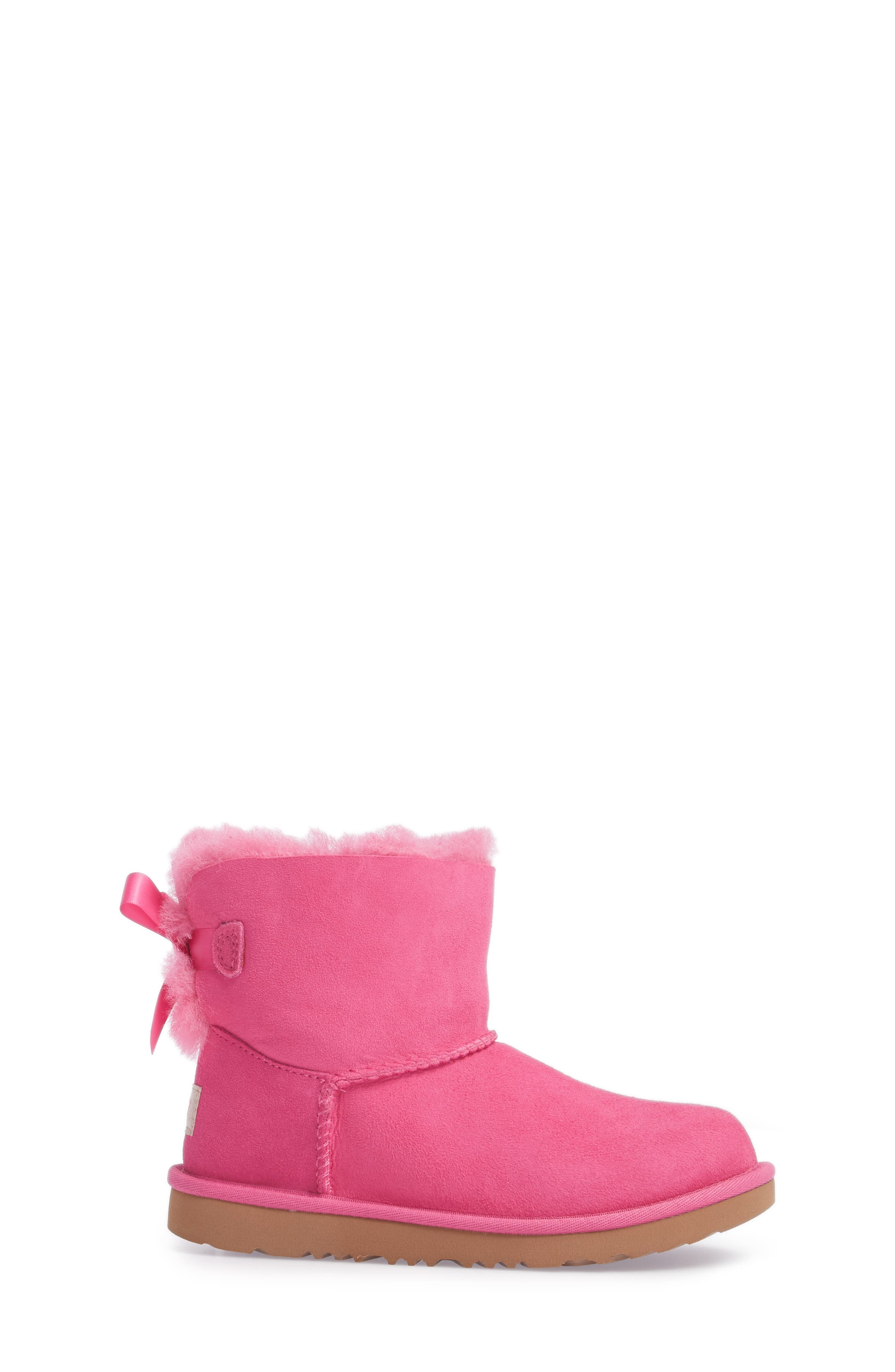 UGG<SUP>®</SUP>, Mini Bailey Bow II Water Resistant Boot, Alternate thumbnail 3, color, PINK AZALEA