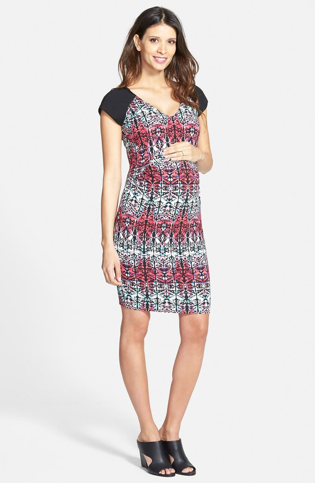 TART MATERNITY 'Freya' Print Body-Con Maternity Dress, Main, color, MOTLEY GEO