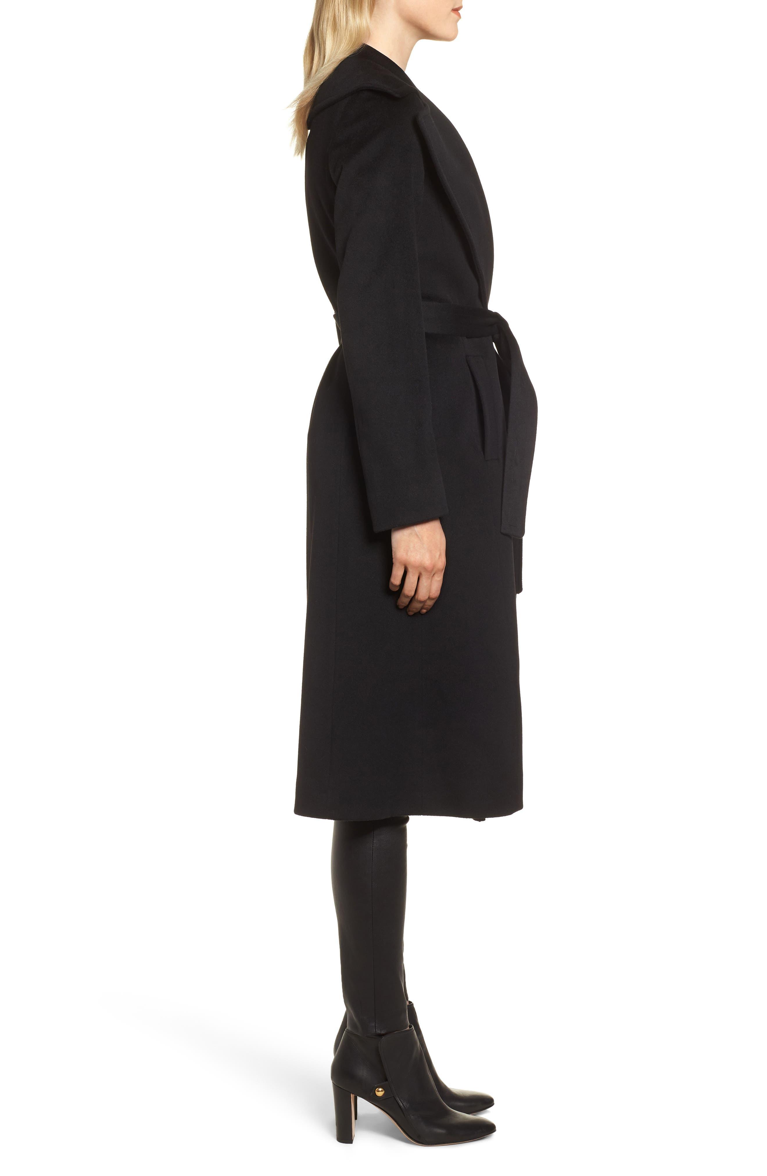 FLEURETTE, Loro Piana Wool Wrap Coat, Alternate thumbnail 4, color, 001