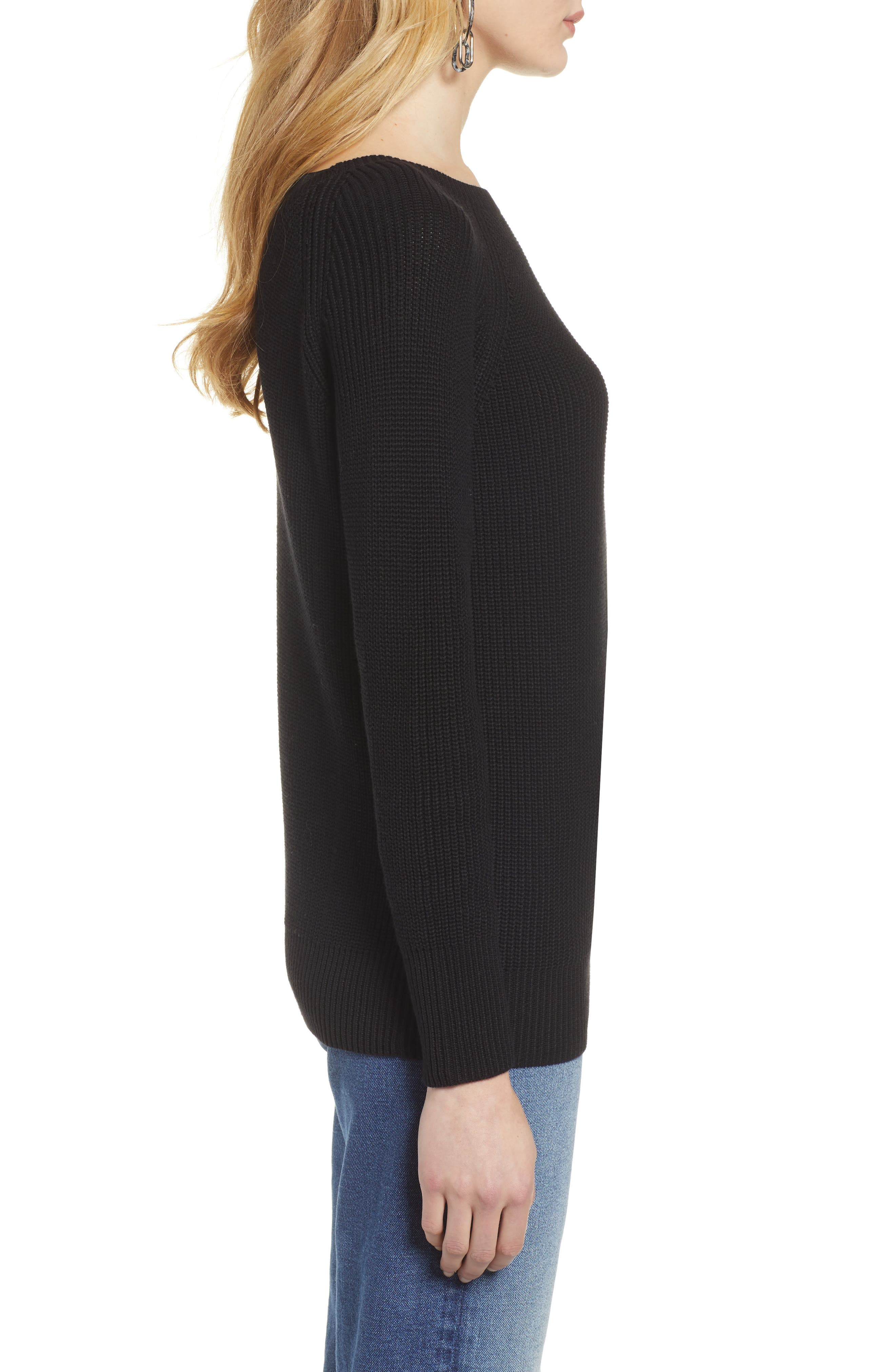 HALOGEN<SUP>®</SUP>, Cross Back Sweater, Alternate thumbnail 3, color, BLACK