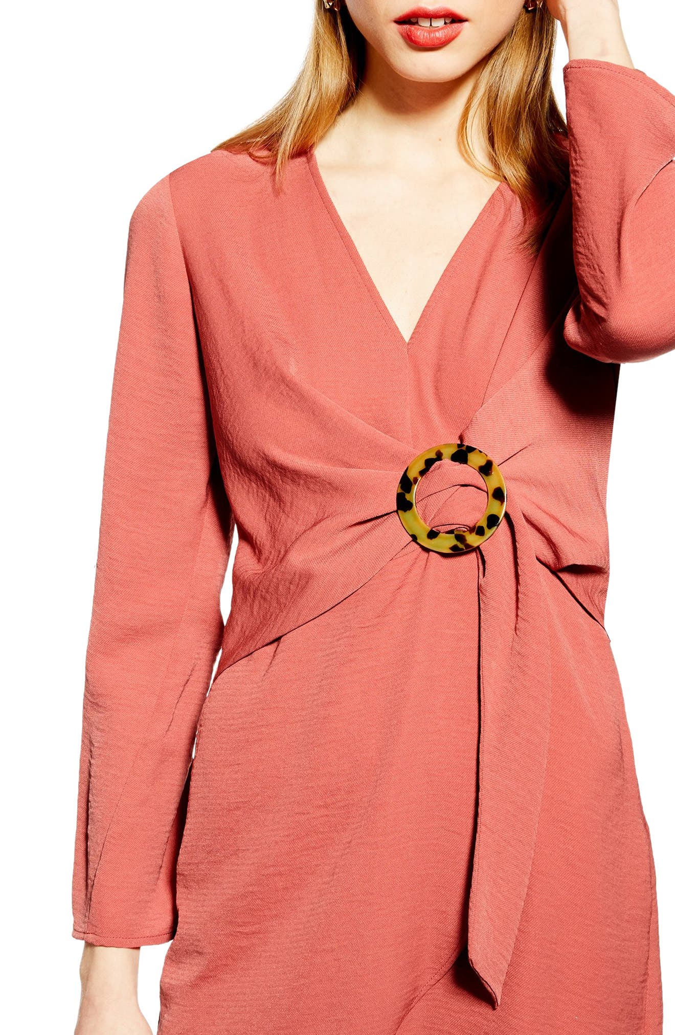 TOPSHOP, Tortoise Ring Minidress, Alternate thumbnail 4, color, DUSTY PINK