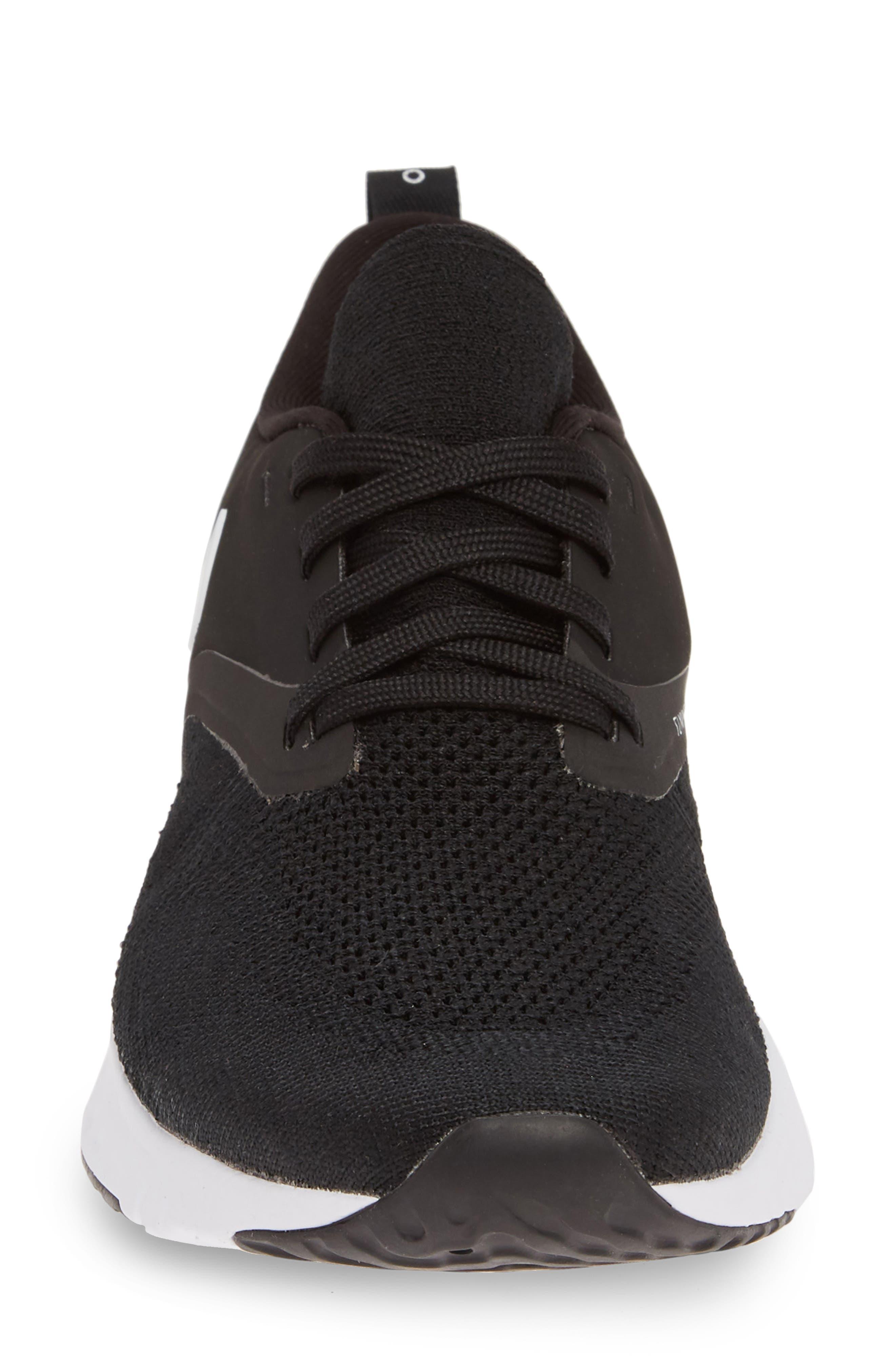 NIKE, Odyssey React 2 Flyknit Running Shoe, Alternate thumbnail 4, color, BLACK/ WHITE