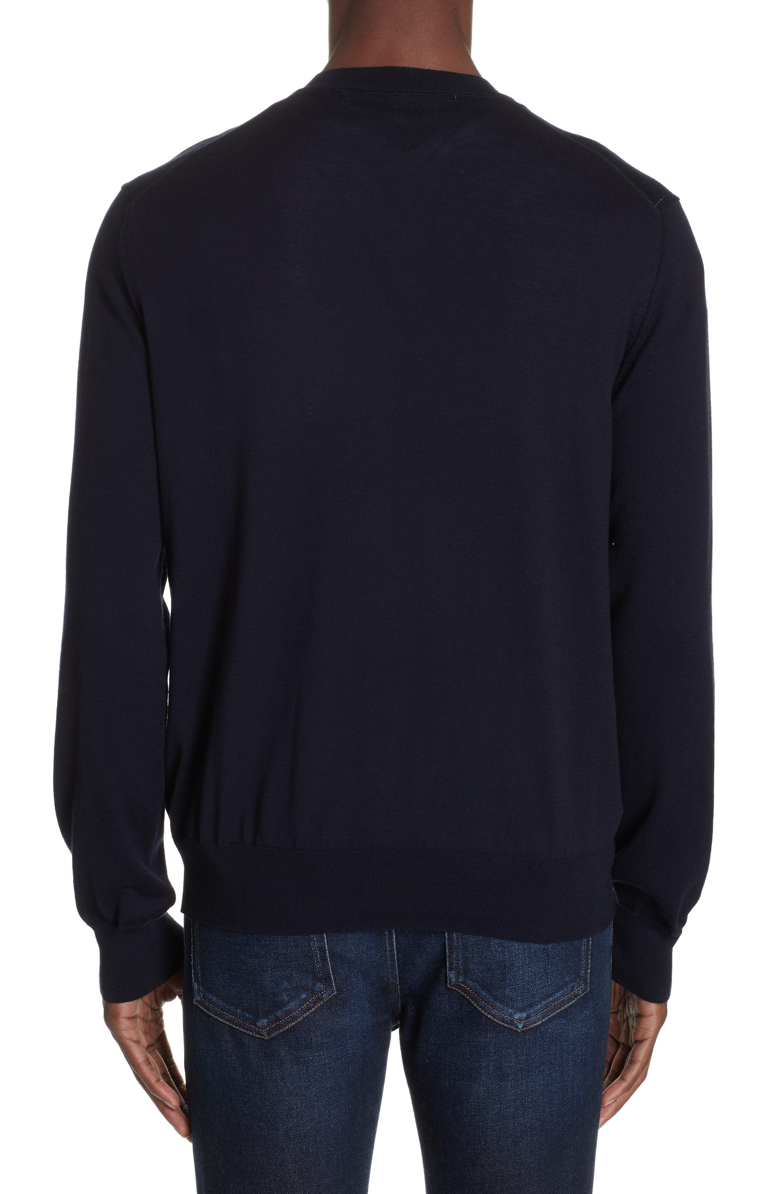 COMME DES GARÇONS PLAY, Cotton Logo Sweater, Alternate thumbnail 2, color, NAVY