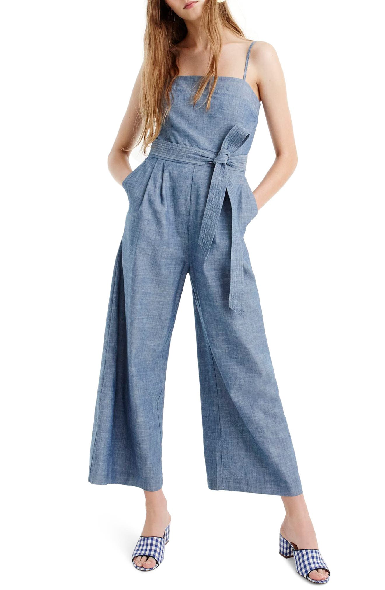 J.CREW, Marseille Cotton Chambray Jumpsuit, Main thumbnail 1, color, 400