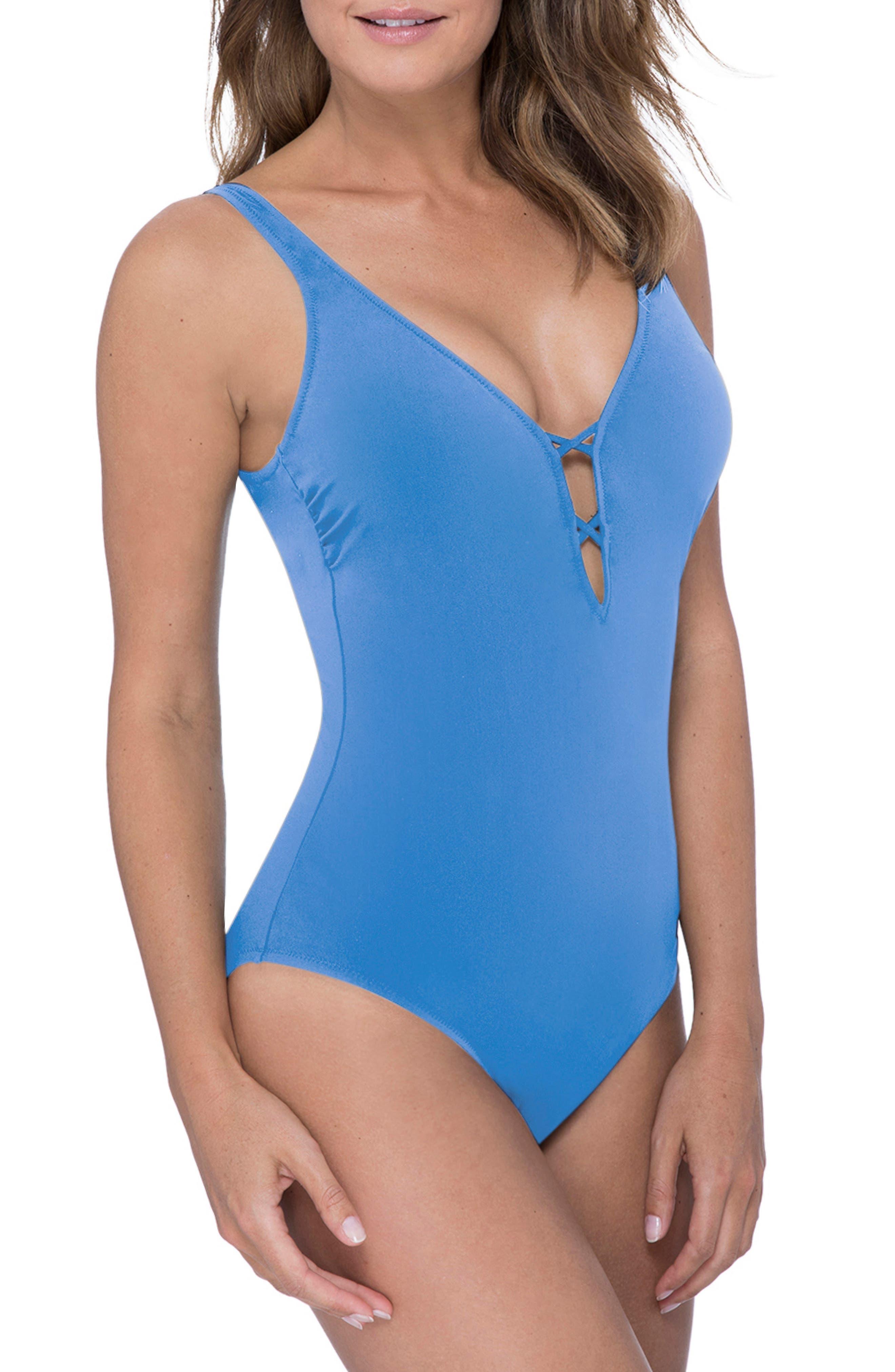 PROFILE BY GOTTEX, One-Piece Swimsuit, Alternate thumbnail 3, color, DUSK BLUE