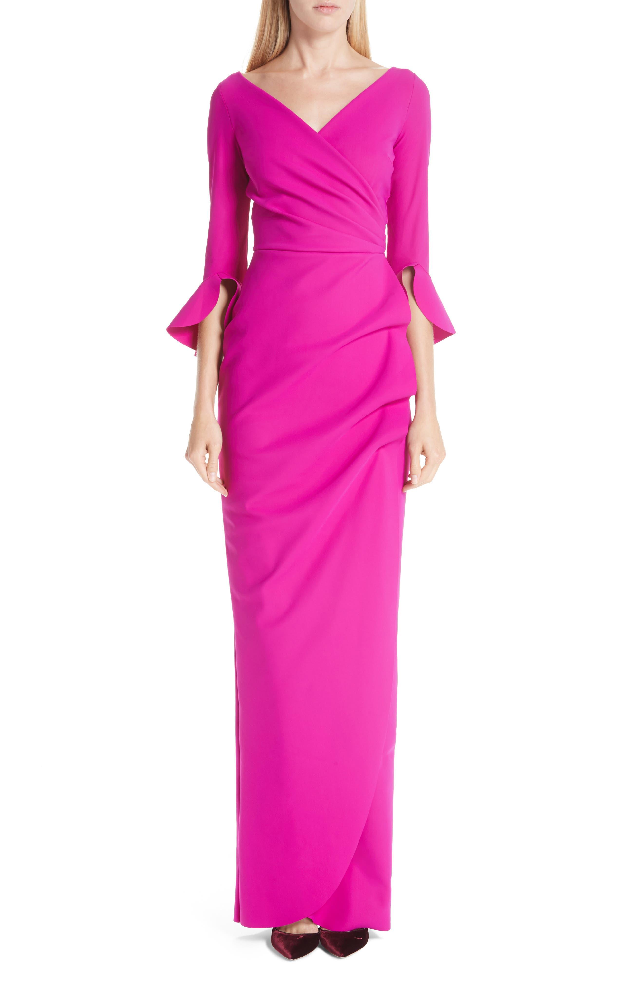 Chiara Boni La Petite Robe Ruched Bell Sleeve Evening Dress, 8 IT - Pink