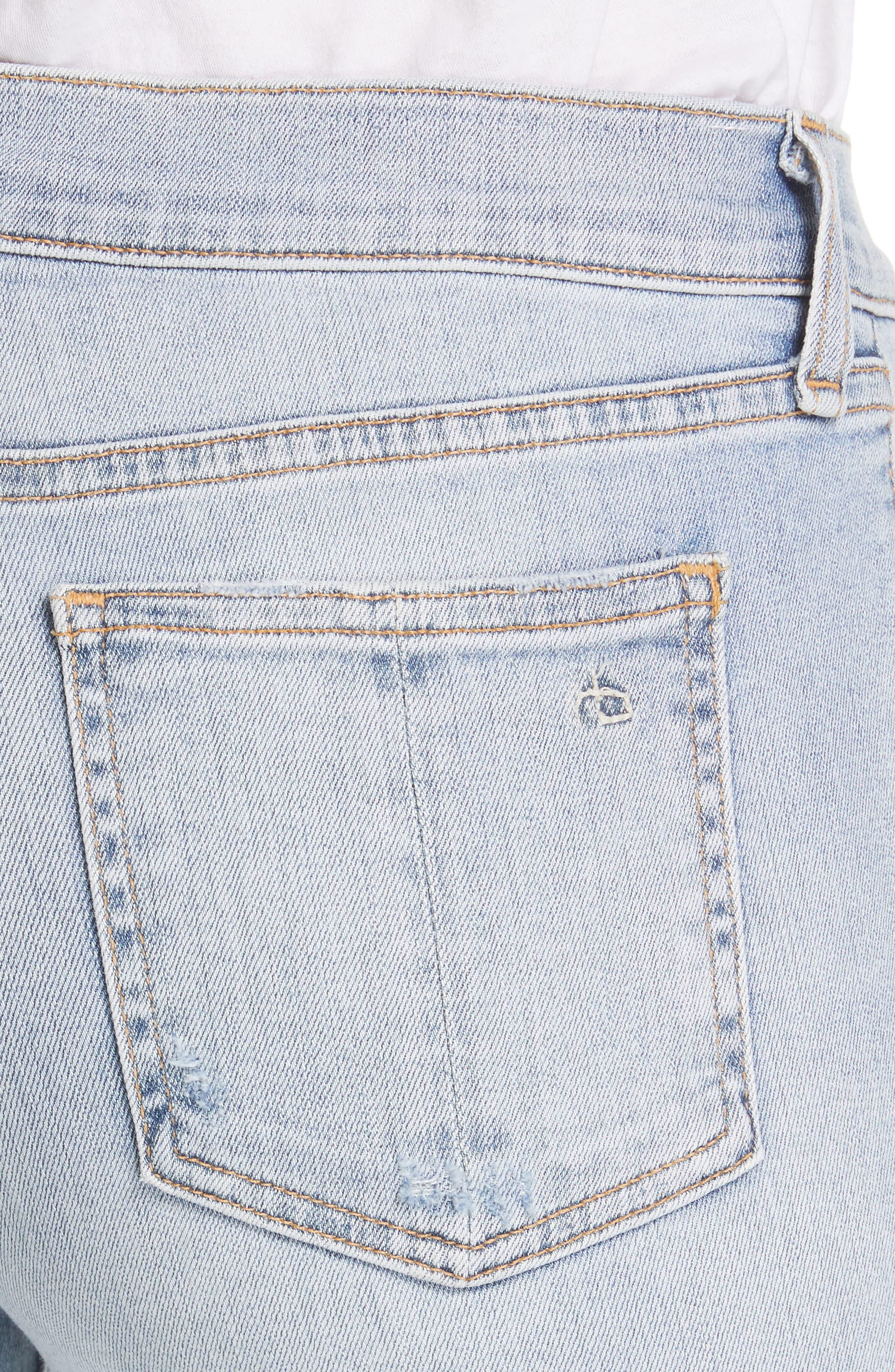 RAG & BONE, JEAN Ripped Ankle Skinny Jeans, Alternate thumbnail 5, color, 450