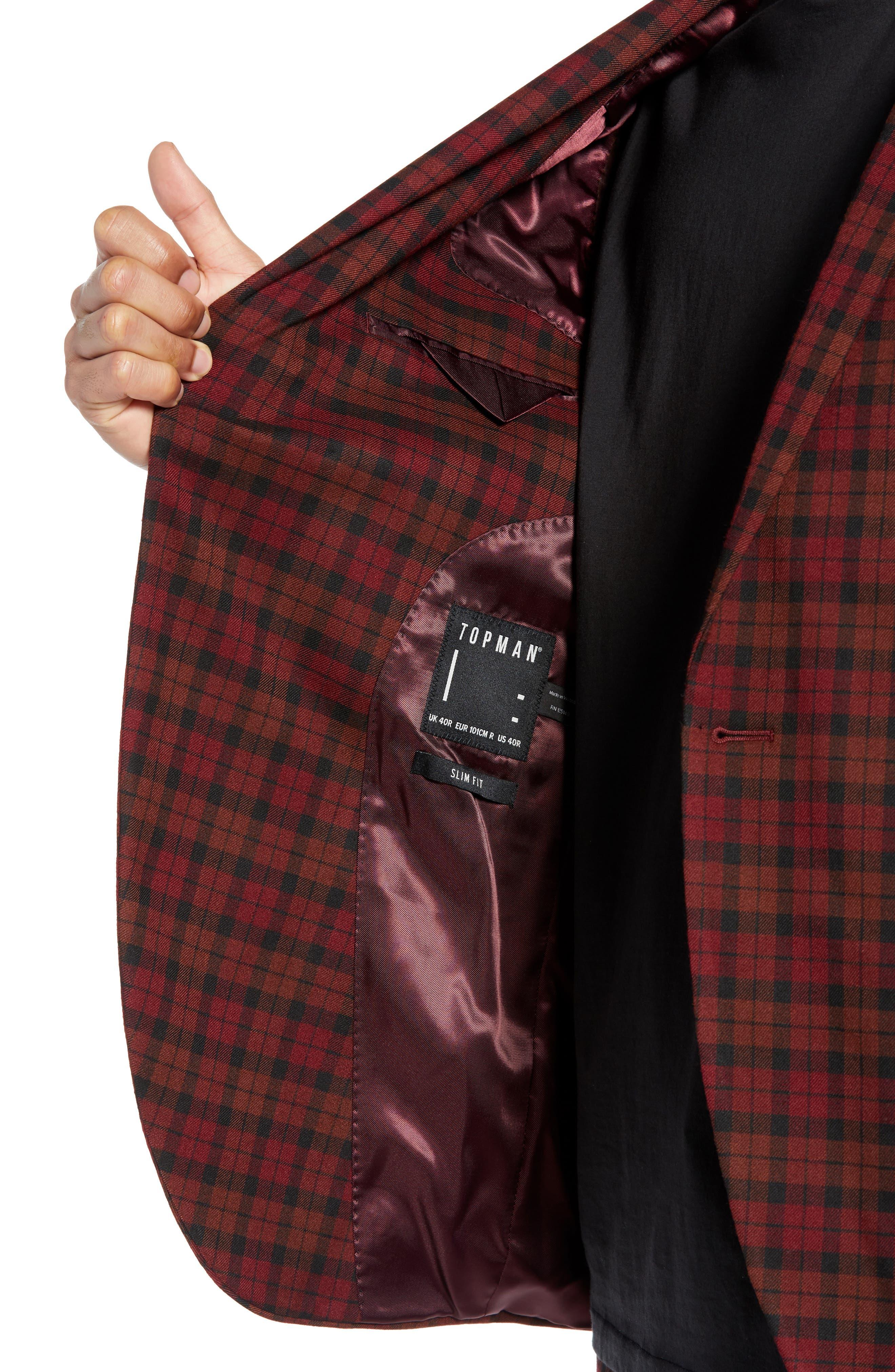 TOPMAN, Thorn Slim Fit Suit Jacket, Alternate thumbnail 5, color, 600