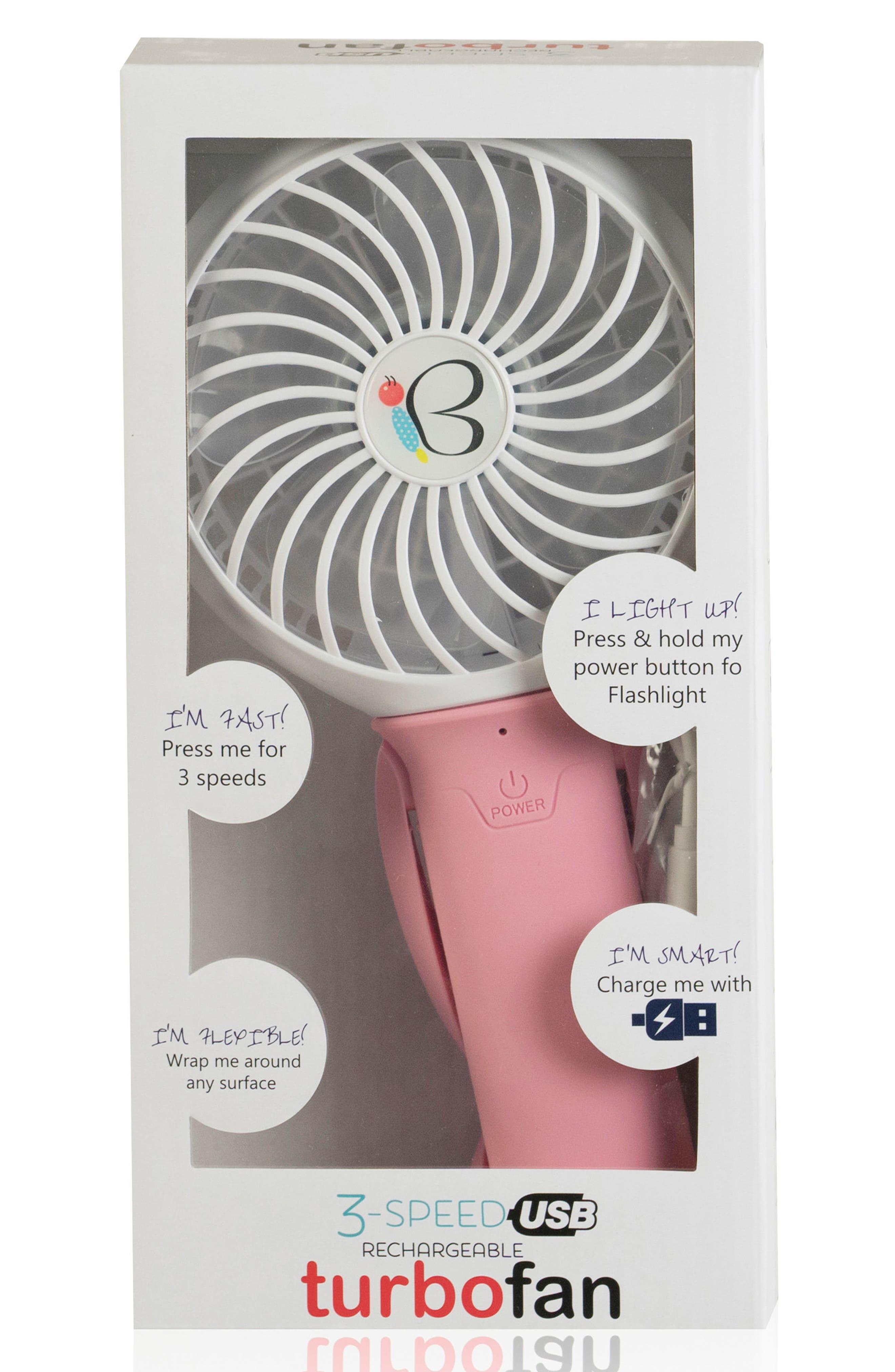 NIKIANI, USB Rechargeable Turbo Fan, Alternate thumbnail 2, color, PINK/ WHITE