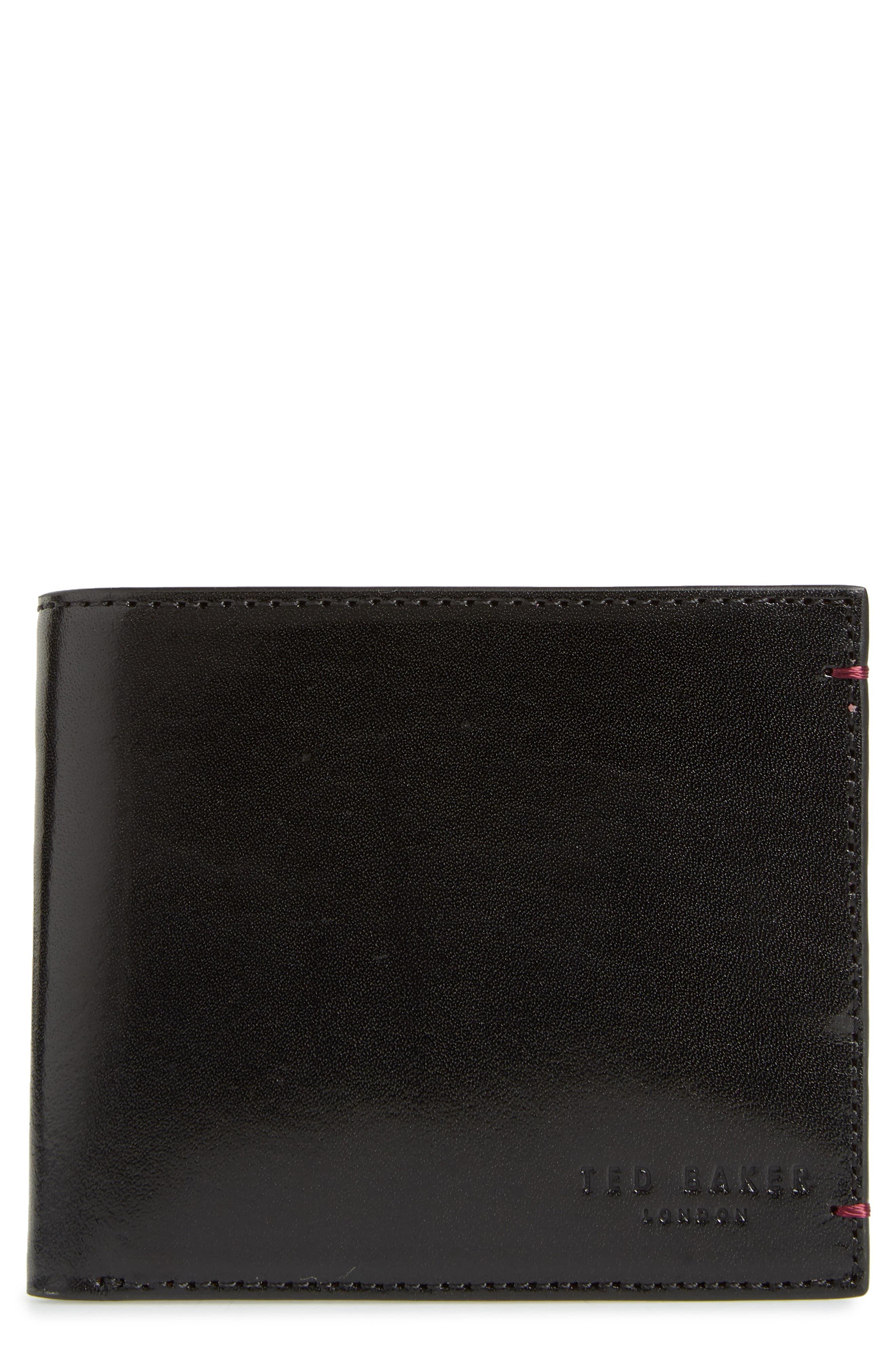 TED BAKER LONDON Contrast Leather Wallet, Main, color, BLACK