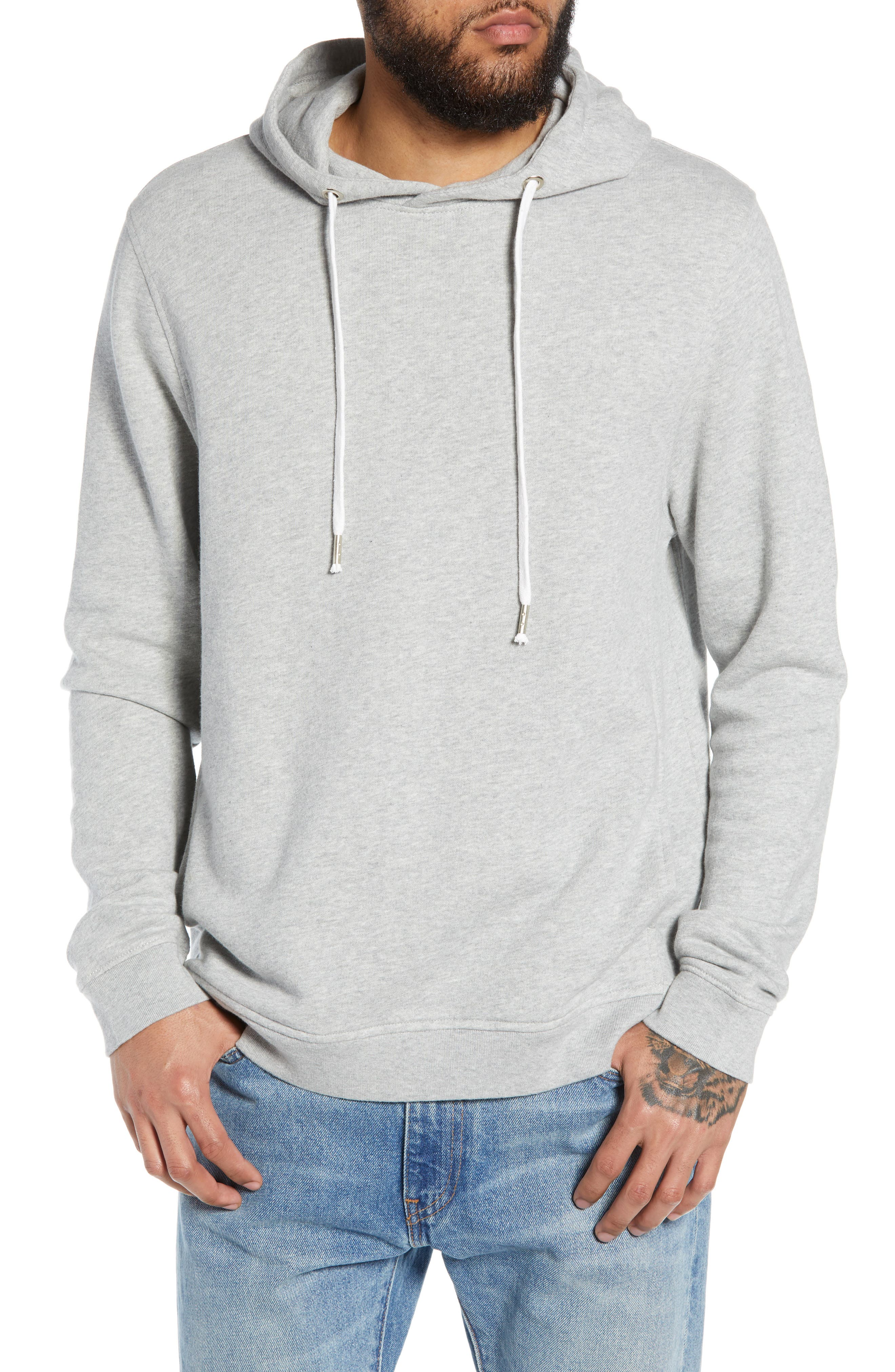 THE RAIL, Heather Sunfaded Hoodie, Main thumbnail 1, color, GREY ASH HEATHER