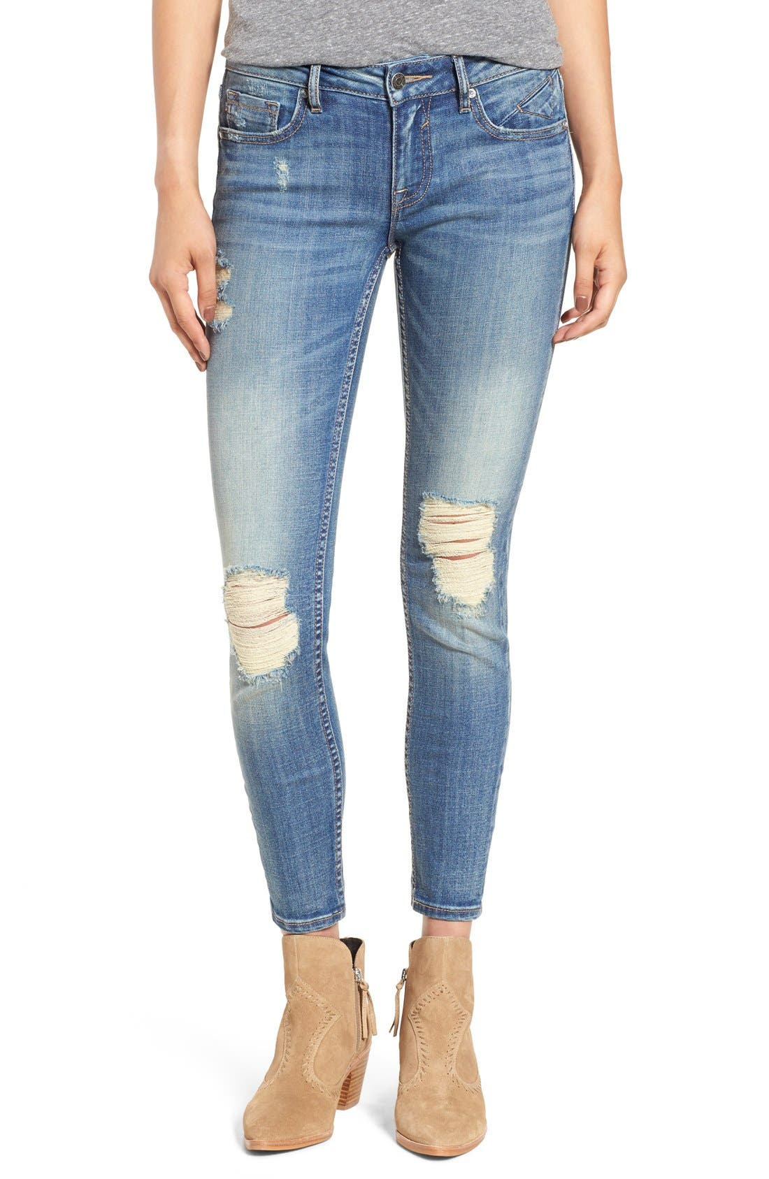 VIGOSS, 'Chelsea' Destroyed Ankle Skinny Jeans, Main thumbnail 1, color, 400