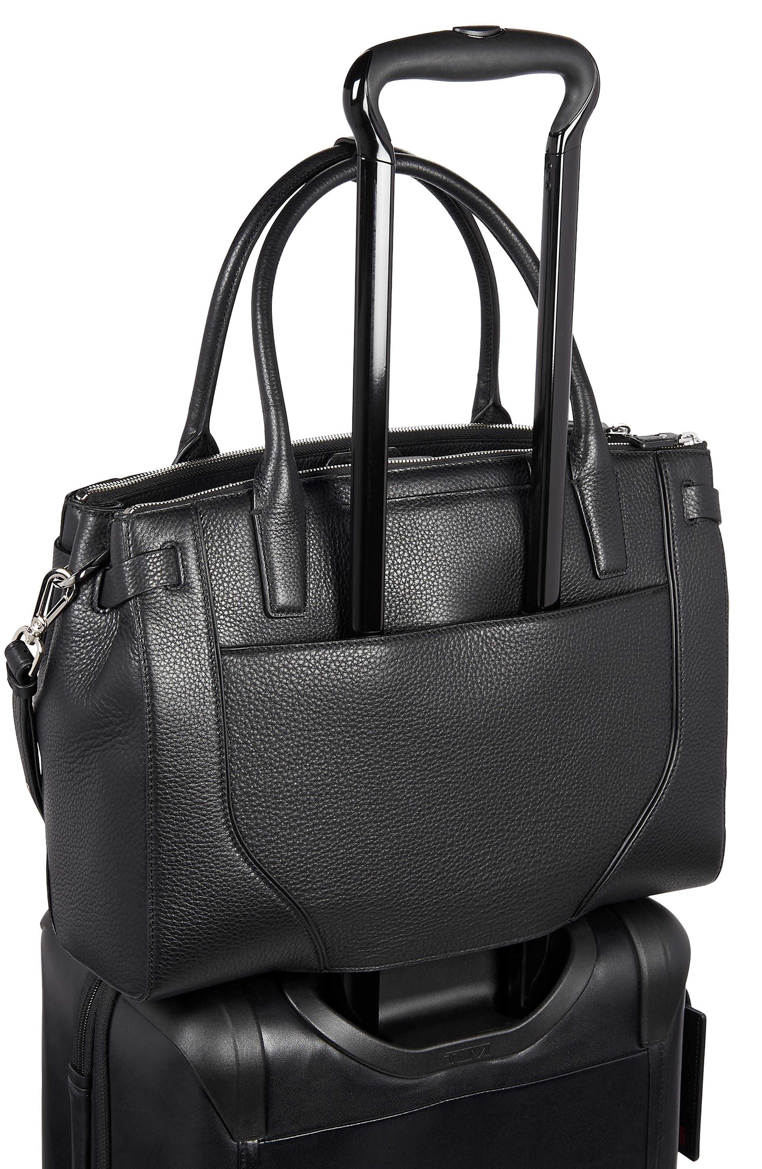 TUMI, Stanton Kiran Leather Laptop Briefcase, Alternate thumbnail 5, color, BLACK