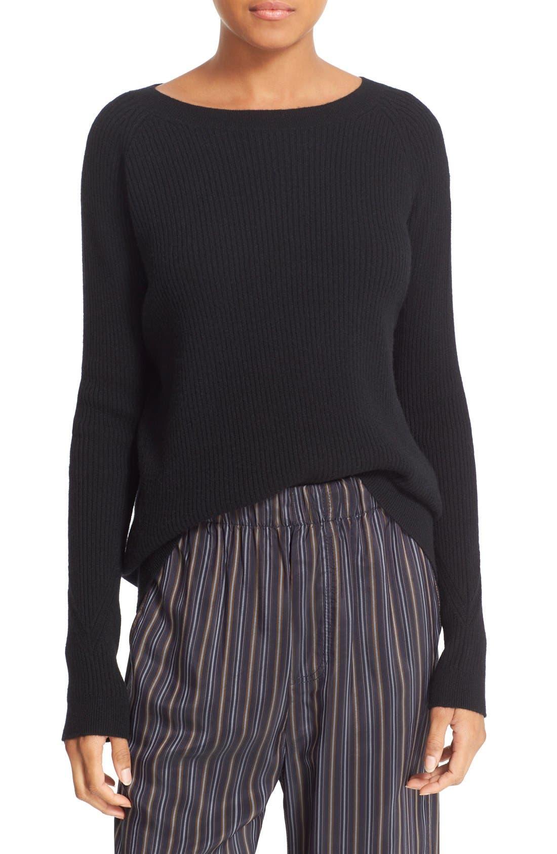 VINCE, Rib Knit Raglan Sleeve Cashmere Sweater, Main thumbnail 1, color, 001