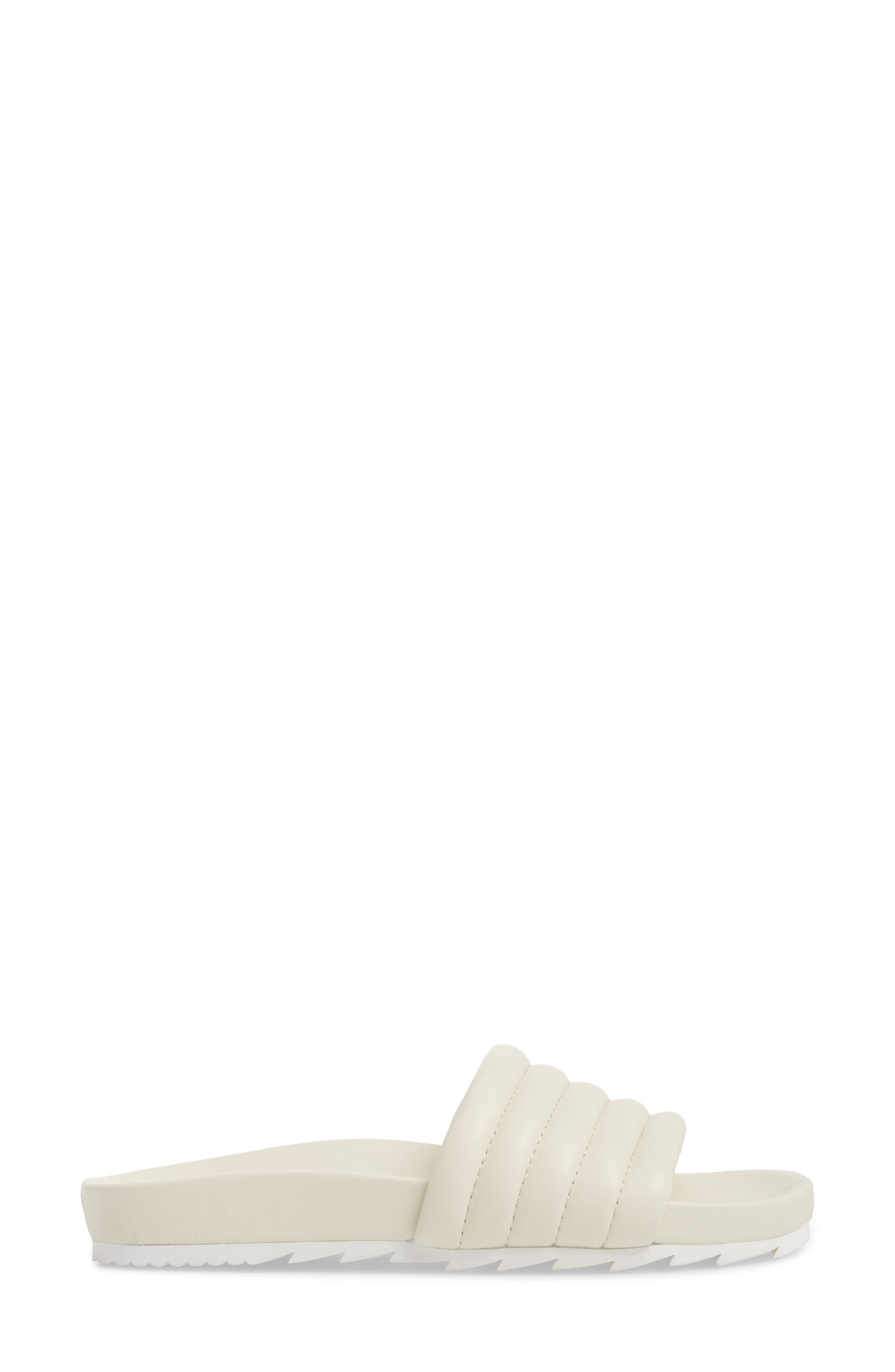 JSLIDES, Eppie Slide Sandal, Alternate thumbnail 3, color, OFF WHITE LEATHER
