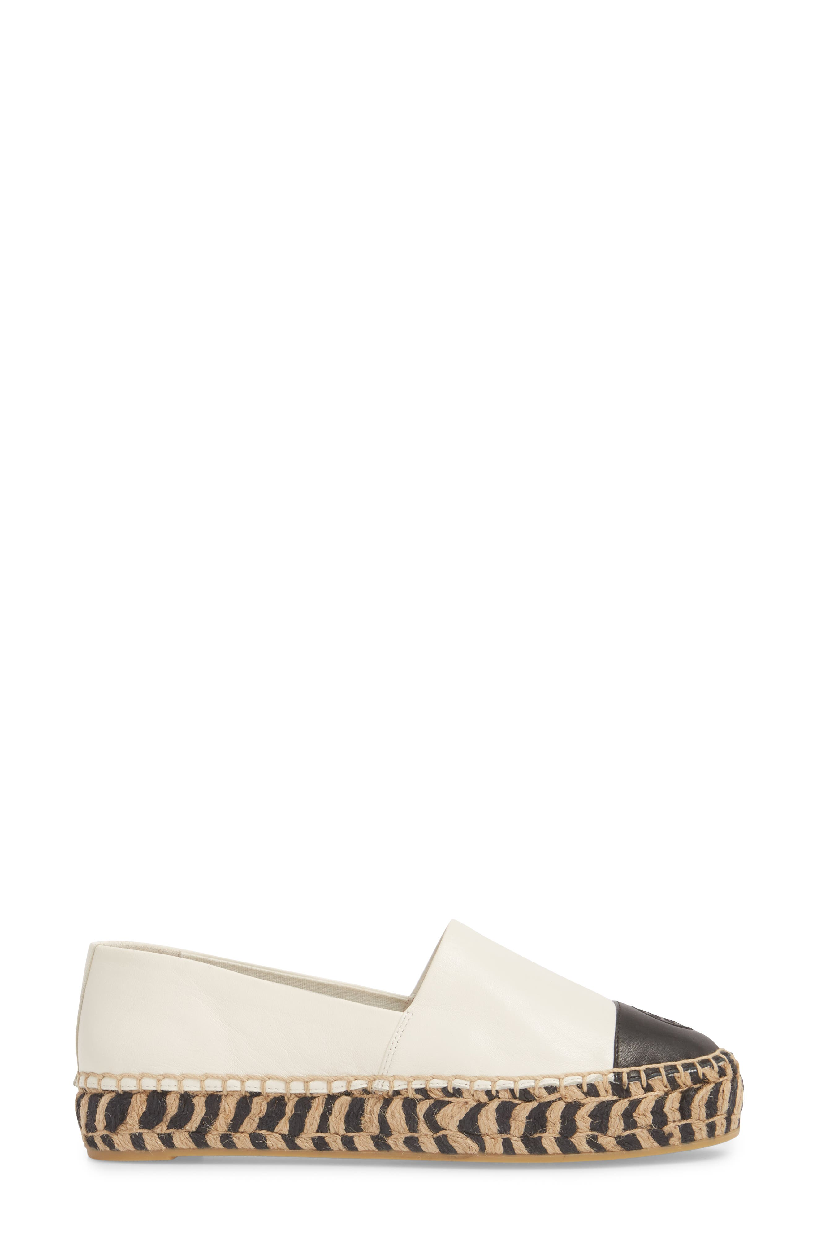 TORY BURCH, Colorblock Platform Espadrille, Alternate thumbnail 3, color, PERFECT IVORY/ PERFECT BLACK