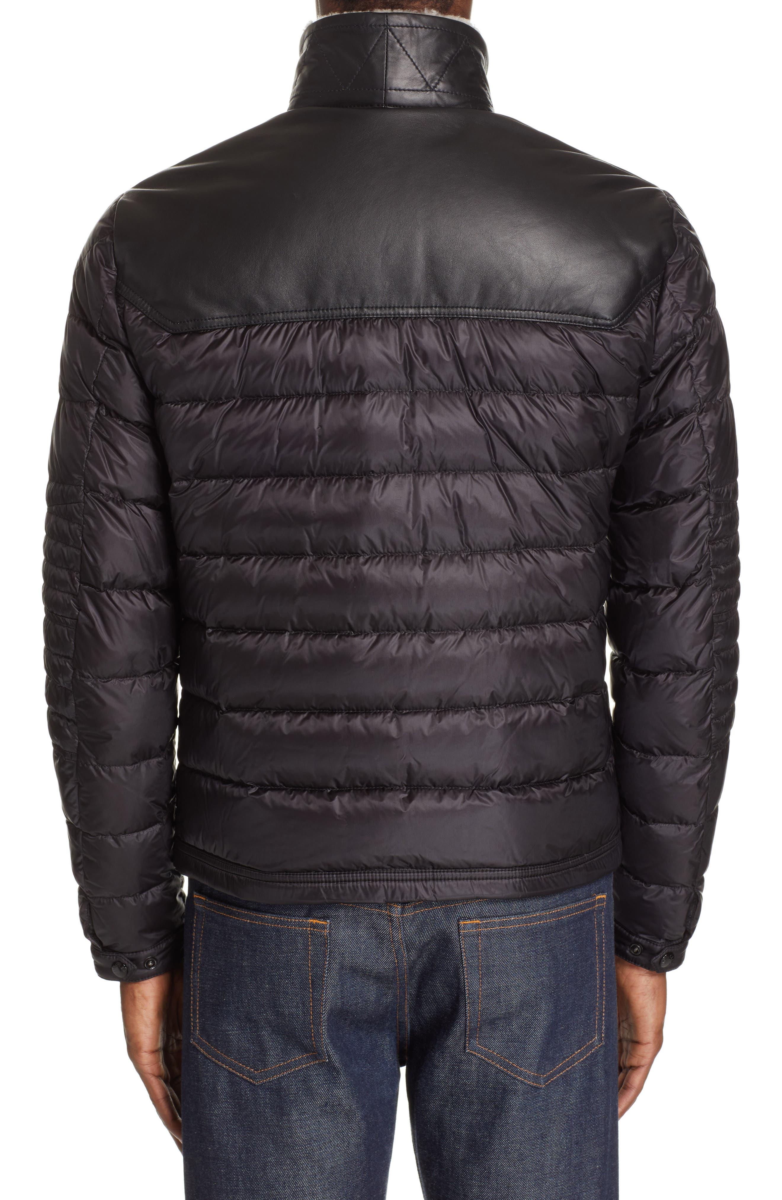 MONCLER, Vasserot Genuine Shearling Collar Jacket, Alternate thumbnail 3, color, BLACK