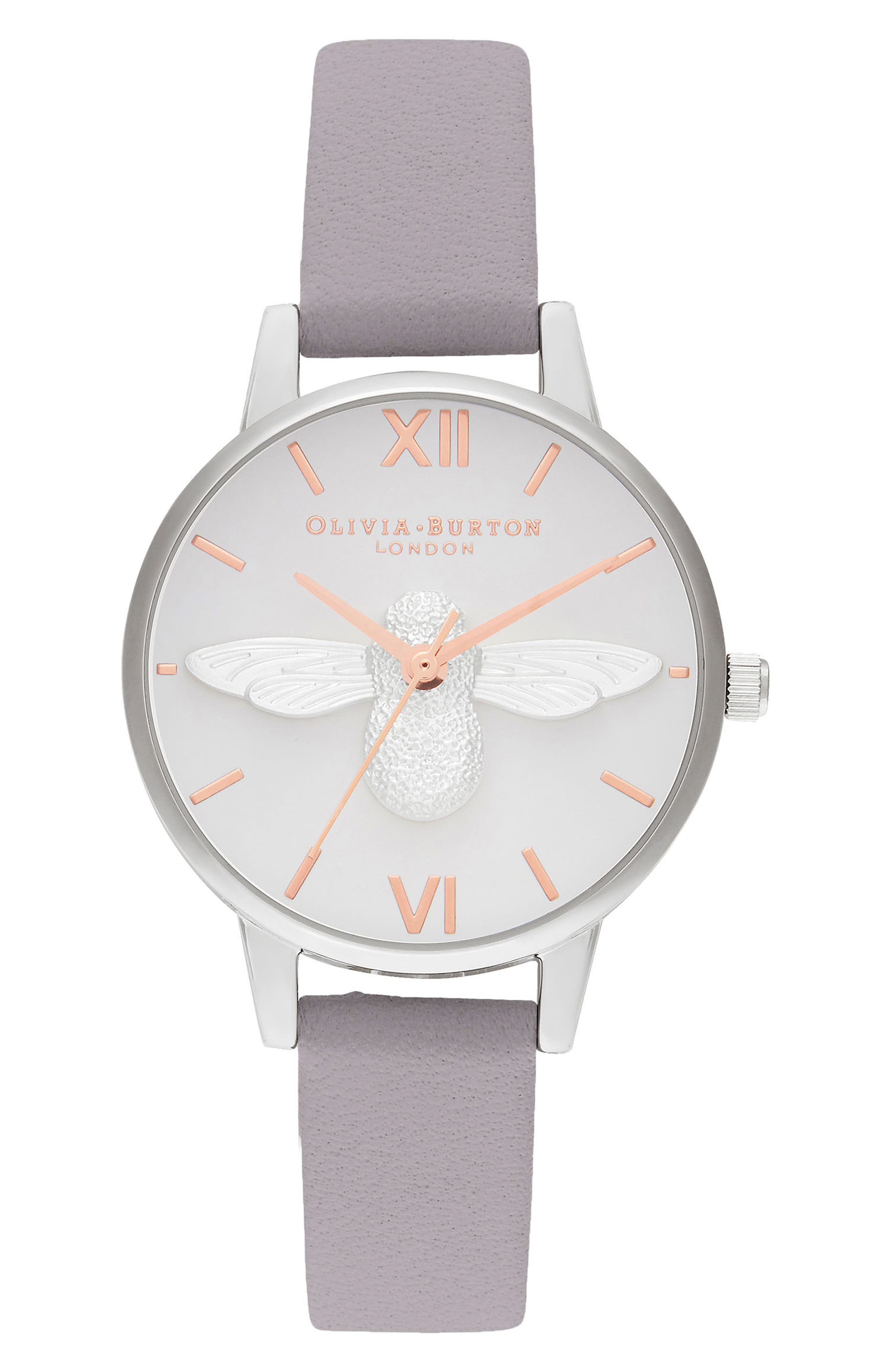 OLIVIA BURTON 3D Bee Leather Strap Watch, 30mm, Main, color, GREY LILAC/ WHITE BEE/ SILVER