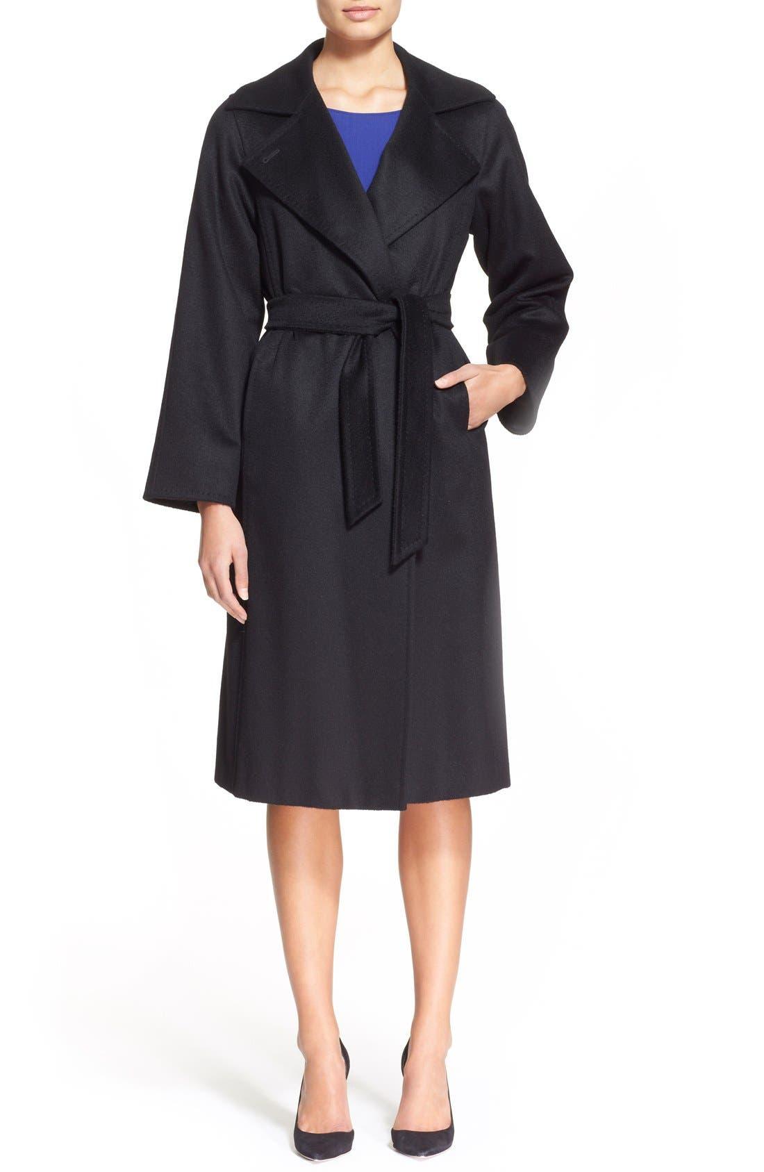 MAX MARA, 'Manuela' Camel Hair Coat, Alternate thumbnail 3, color, BLACK