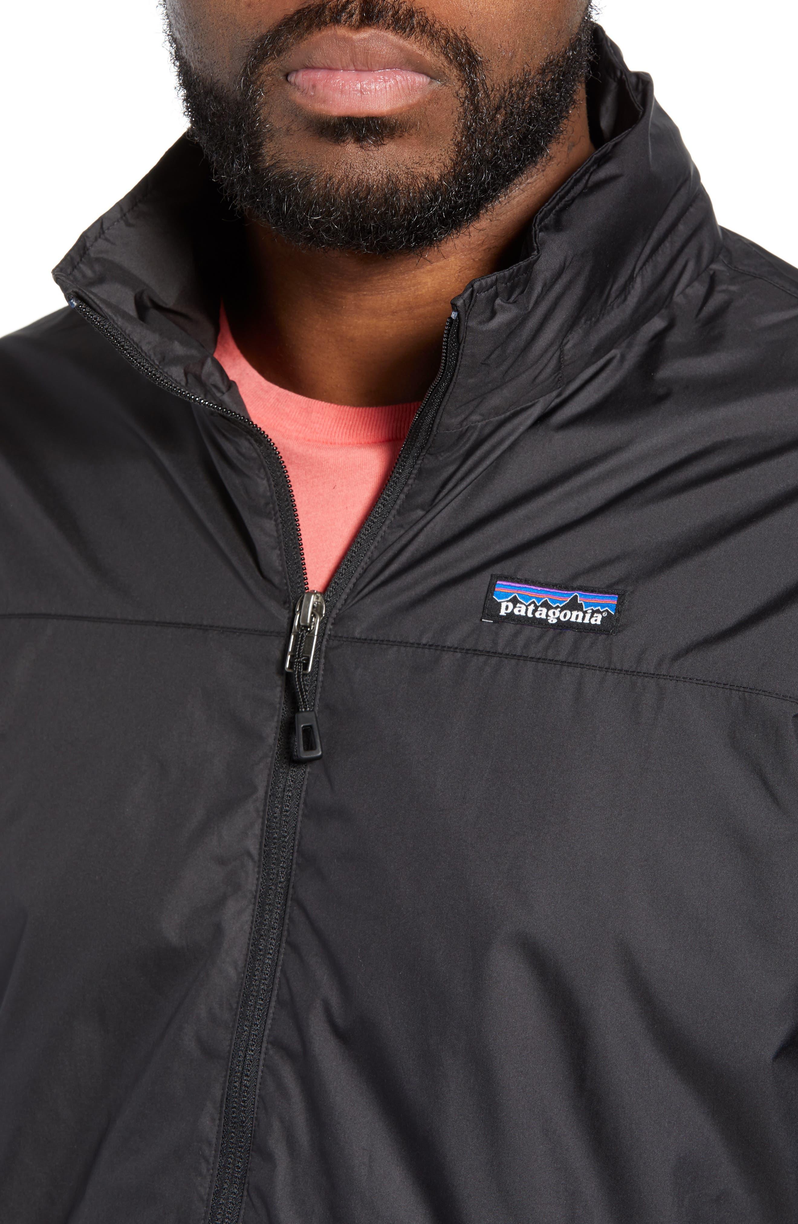 PATAGONIA, Light & Variable<sup>™</sup> Wind & Water Resistant Hooded Jacket, Alternate thumbnail 5, color, INK BLACK