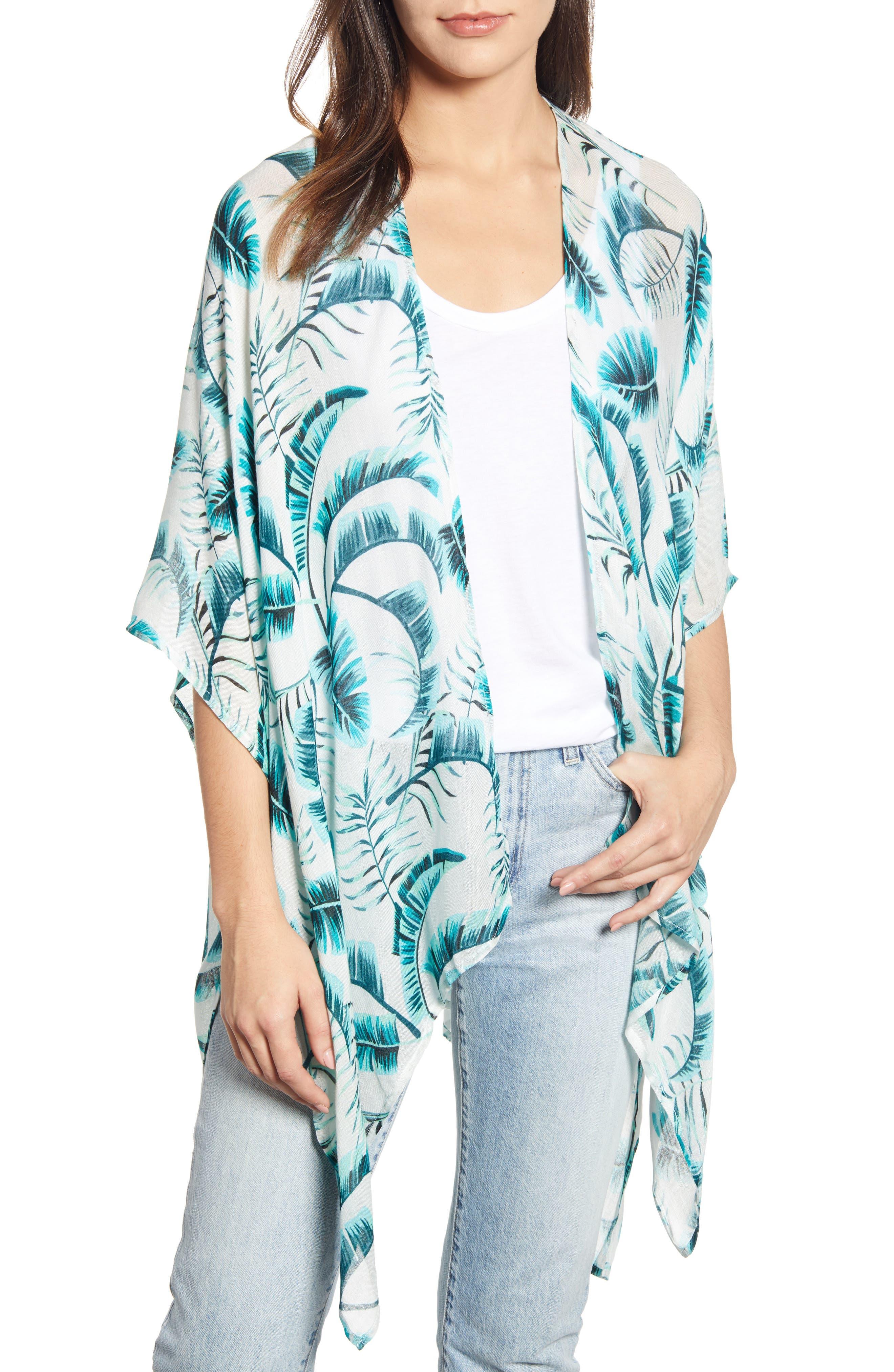ECHO, Palm Leaf Kimono, Main thumbnail 1, color, EMERALD SEA