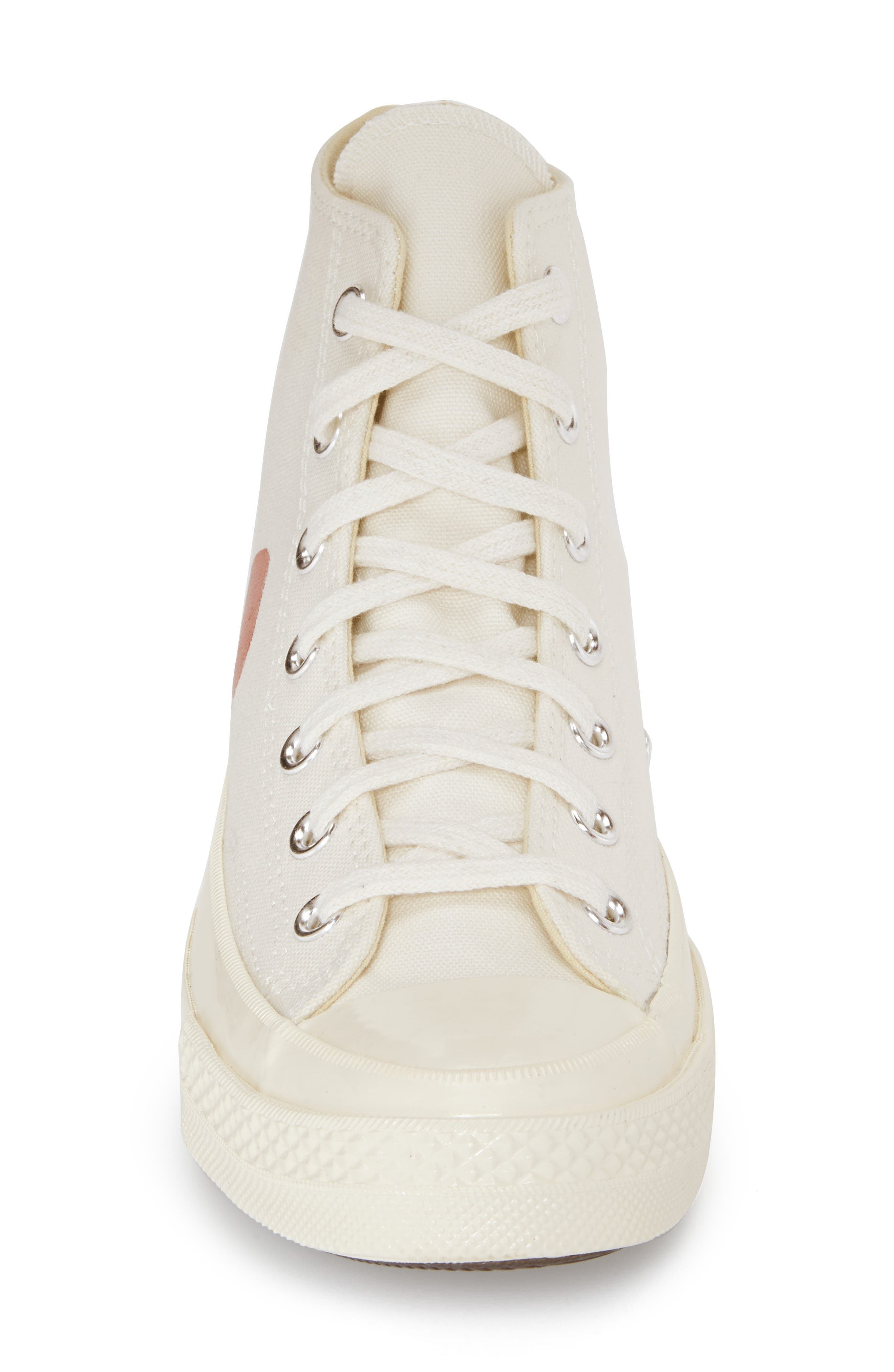 COMME DES GARÇONS PLAY, x Converse Chuck Taylor<sup>®</sup> Hidden Heart High Top Sneaker, Alternate thumbnail 3, color, BEIGE