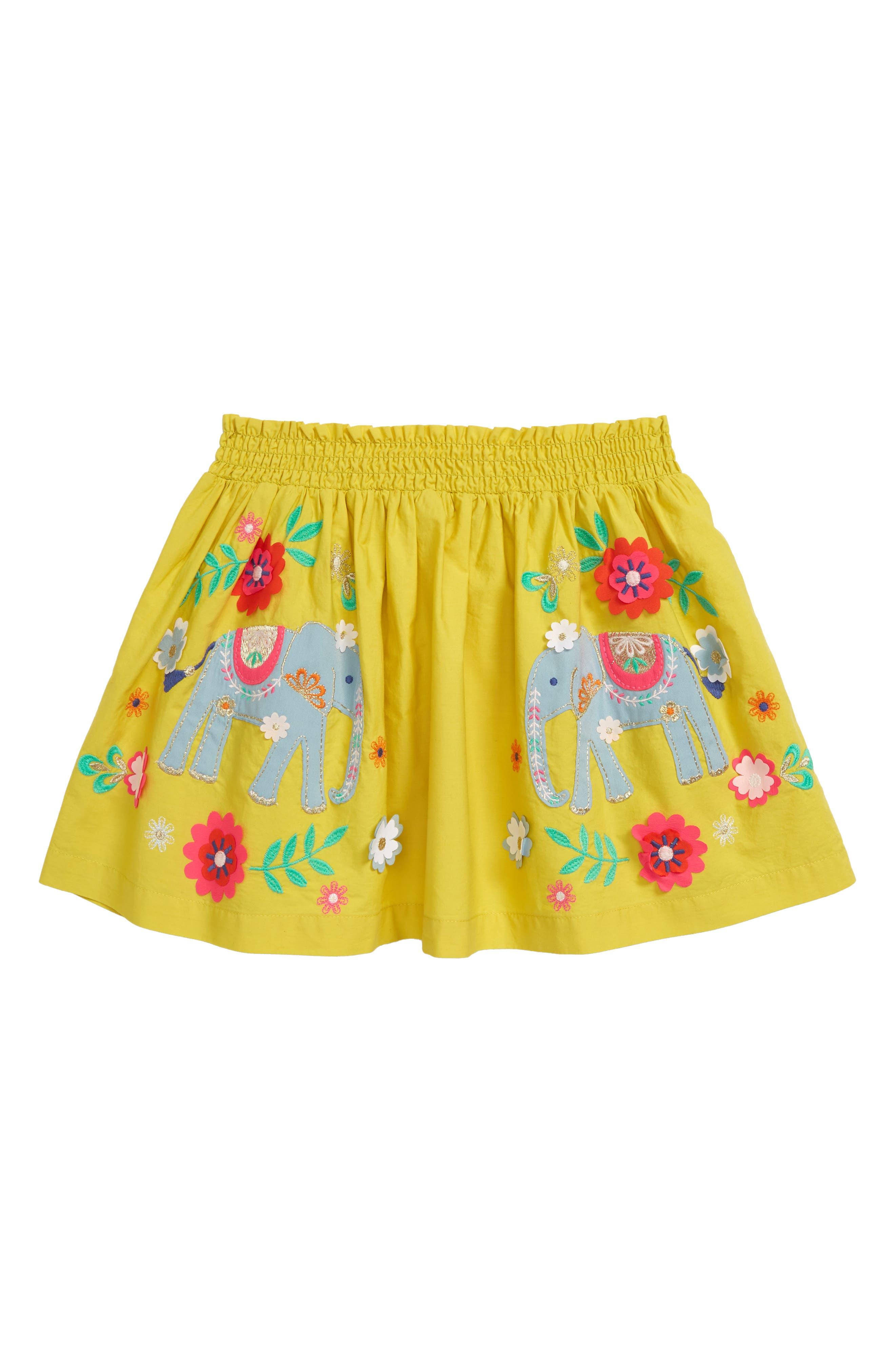 Toddler Girls Mini Boden Applique Skirt Size 34Y  Yellow