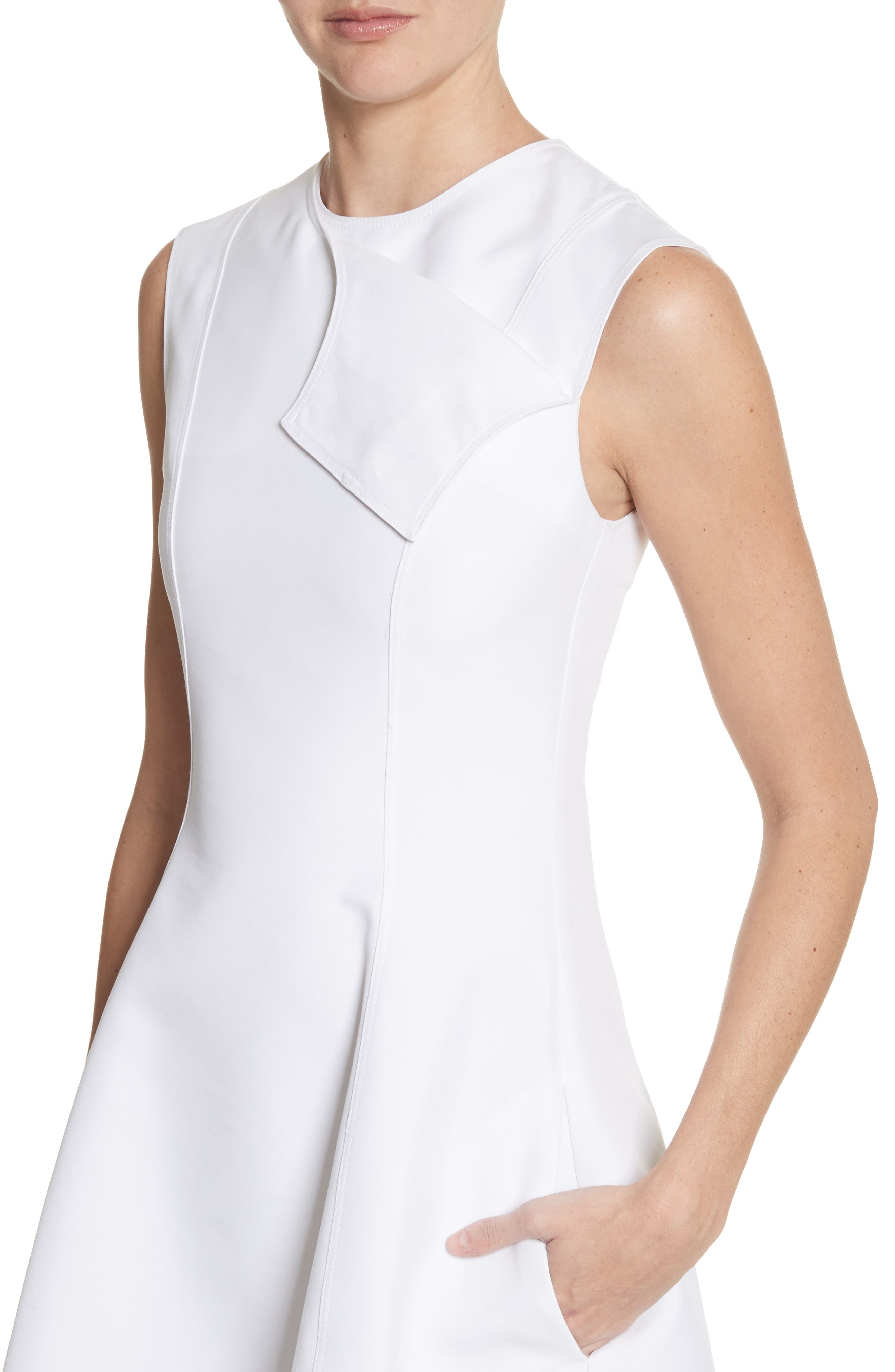 CALVIN KLEIN 205W39NYC, Flap Detail A-Line Dress, Alternate thumbnail 5, color, OPTIC WHITE