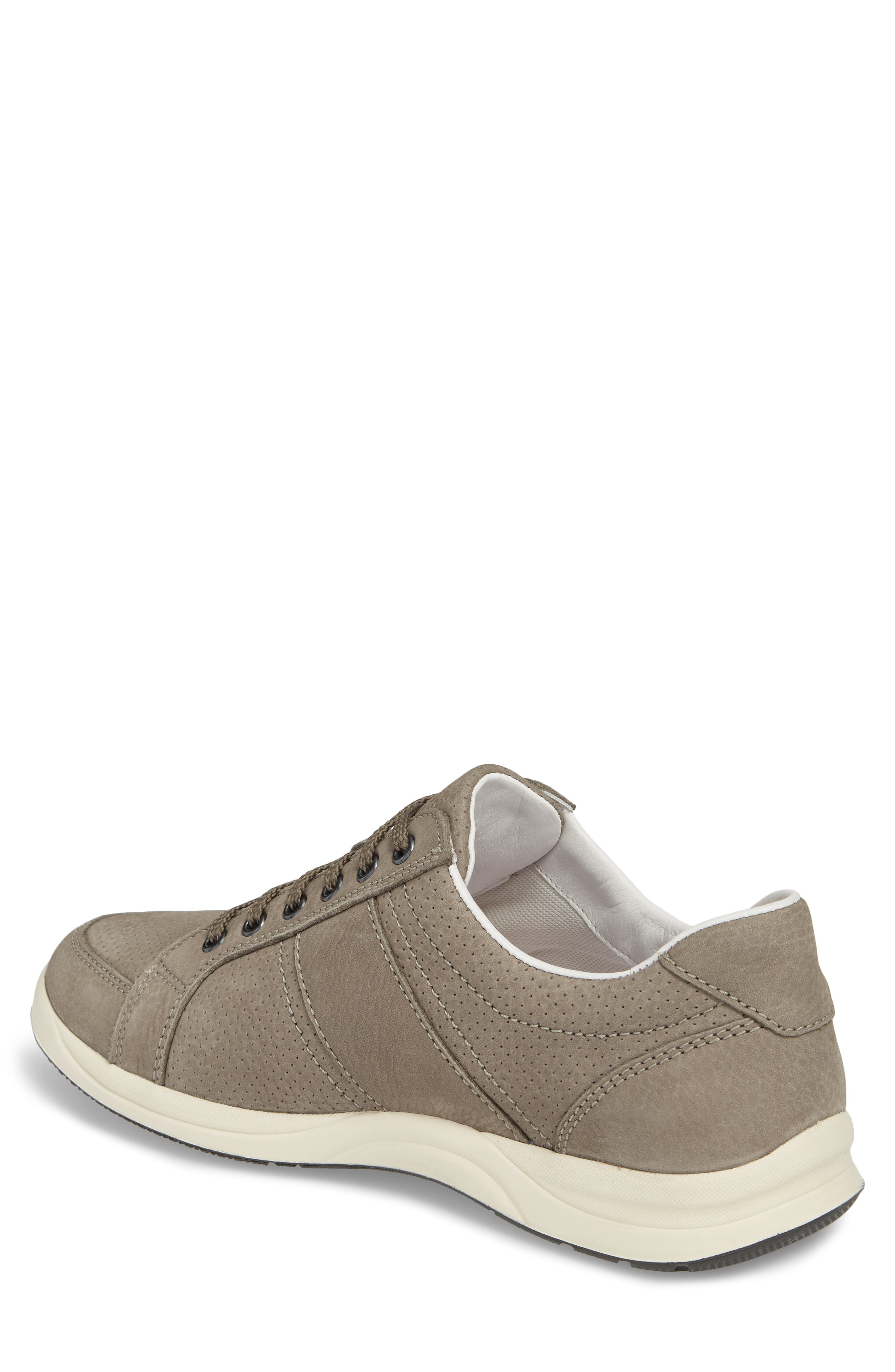 MEPHISTO, 'Hero' Perforated Sneaker, Alternate thumbnail 2, color, GREY LEATHER