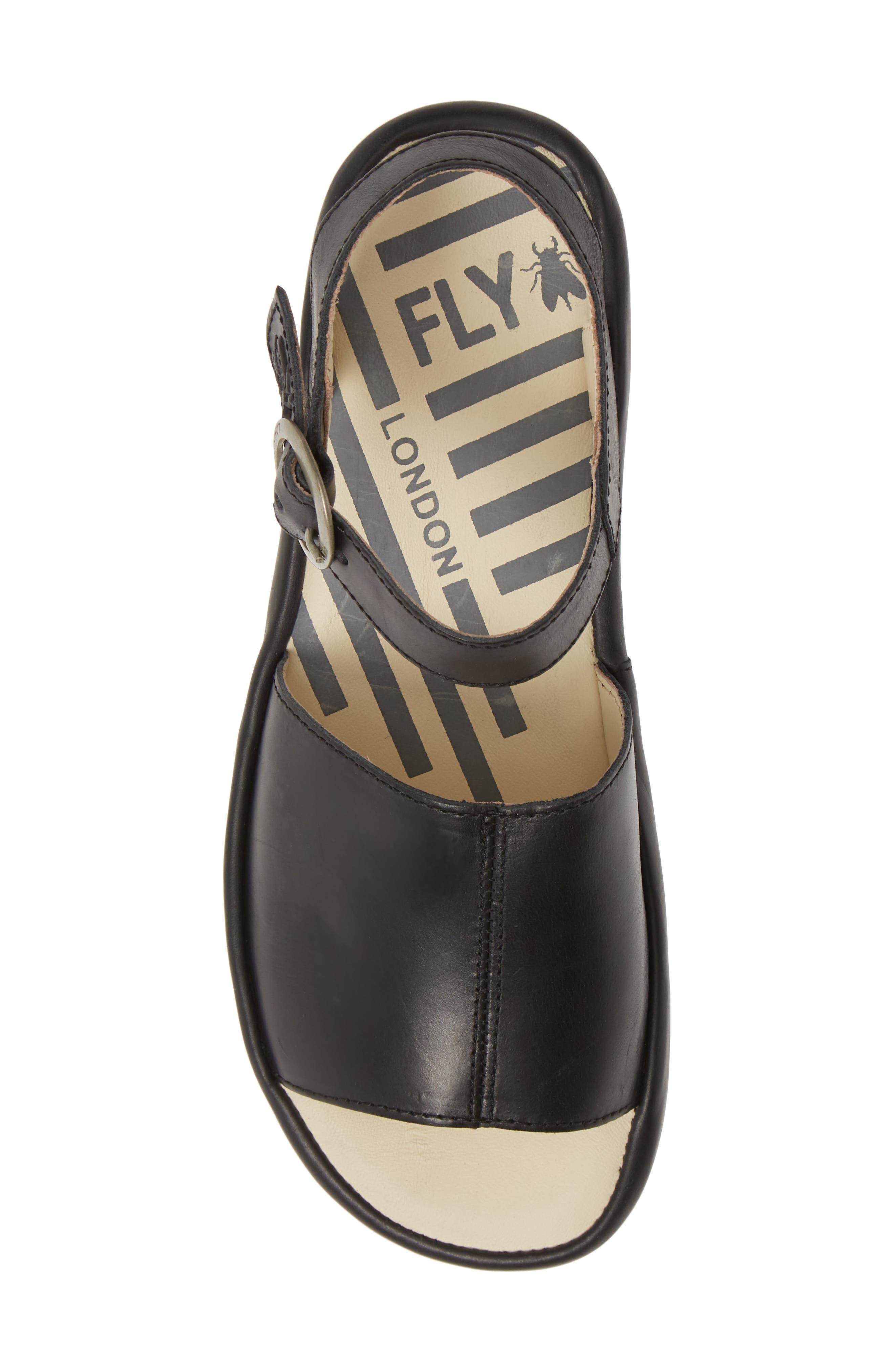 FLY LONDON, Bano Platform Sandal, Alternate thumbnail 5, color, BLACK LEATHER
