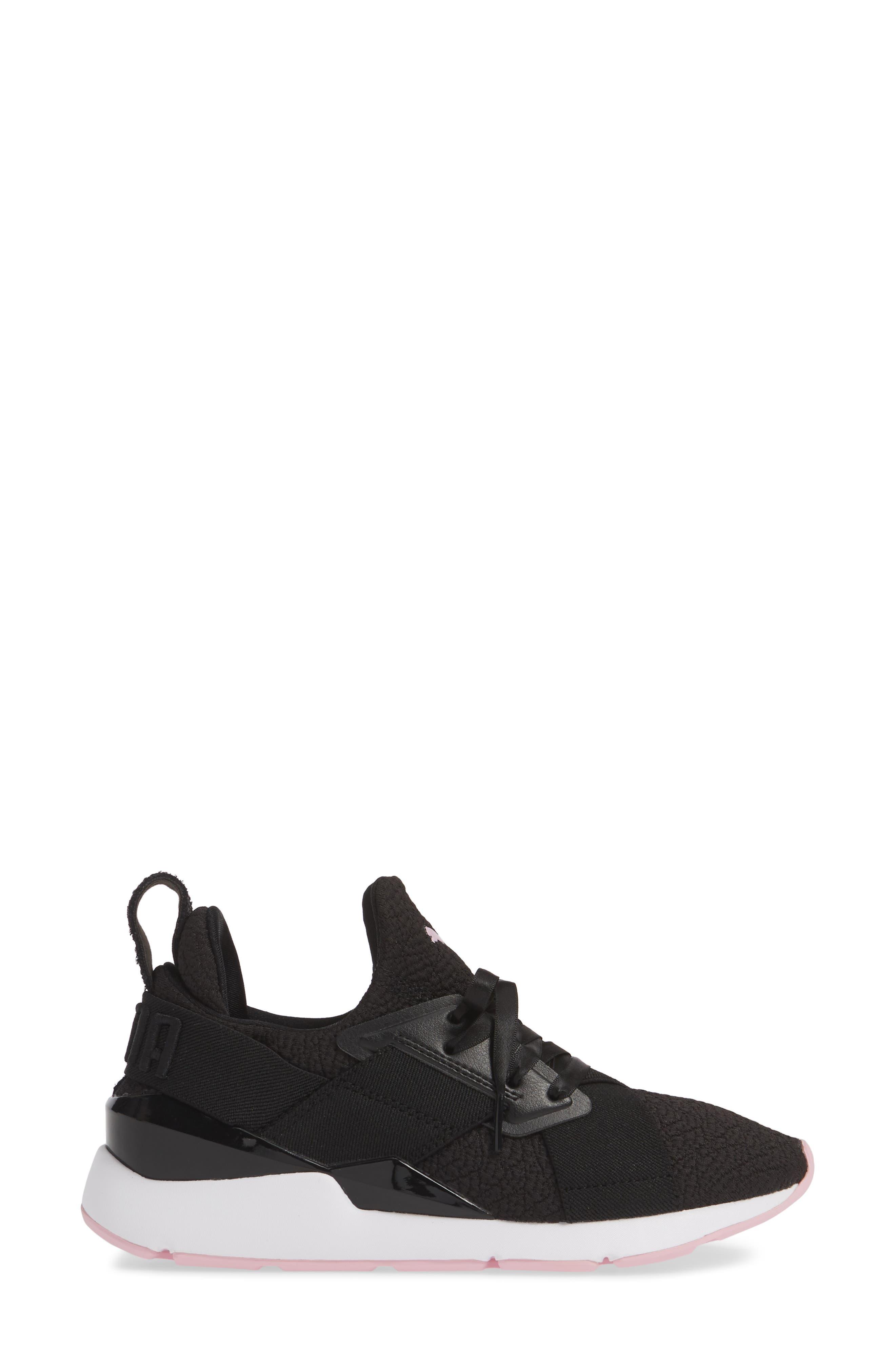 PUMA, Muse TZ Sneaker, Alternate thumbnail 3, color, BLACK/ PALE PINK