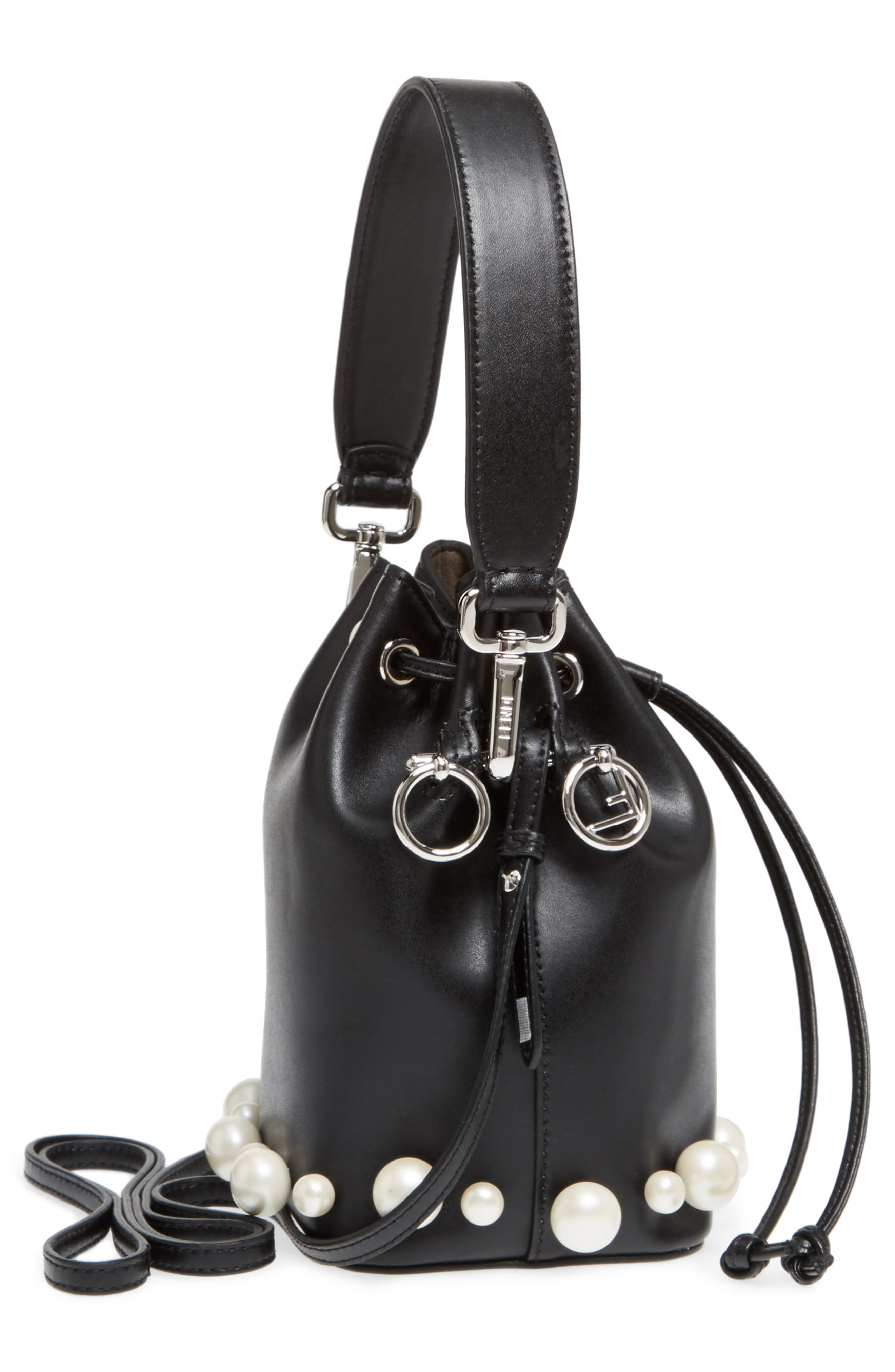 FENDI, Imitation Pearl Calfskin Bucket Bag, Alternate thumbnail 5, color, BLACK