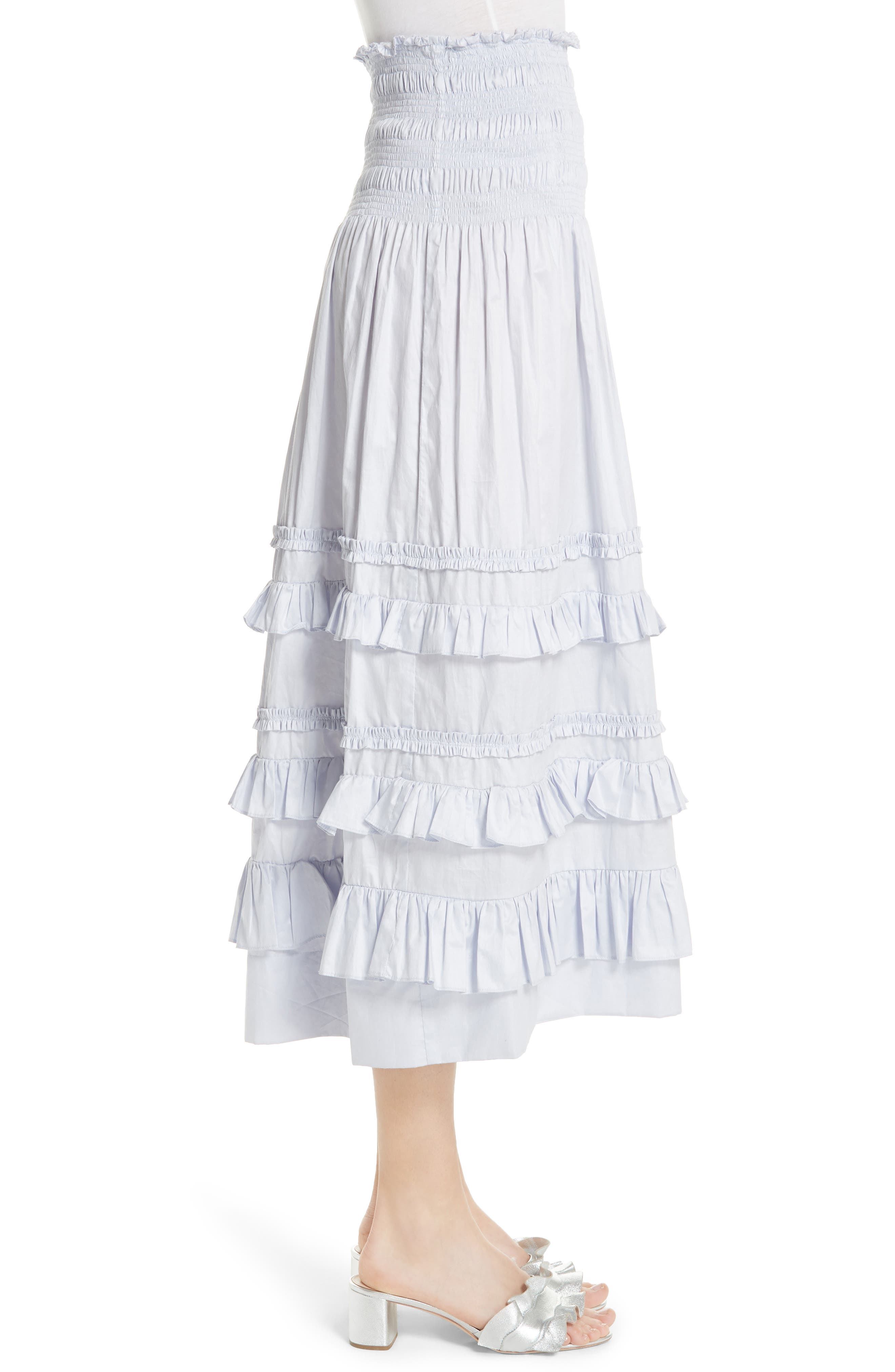 REBECCA TAYLOR, Ruffle Trim Midi Skirt, Alternate thumbnail 3, color, 458