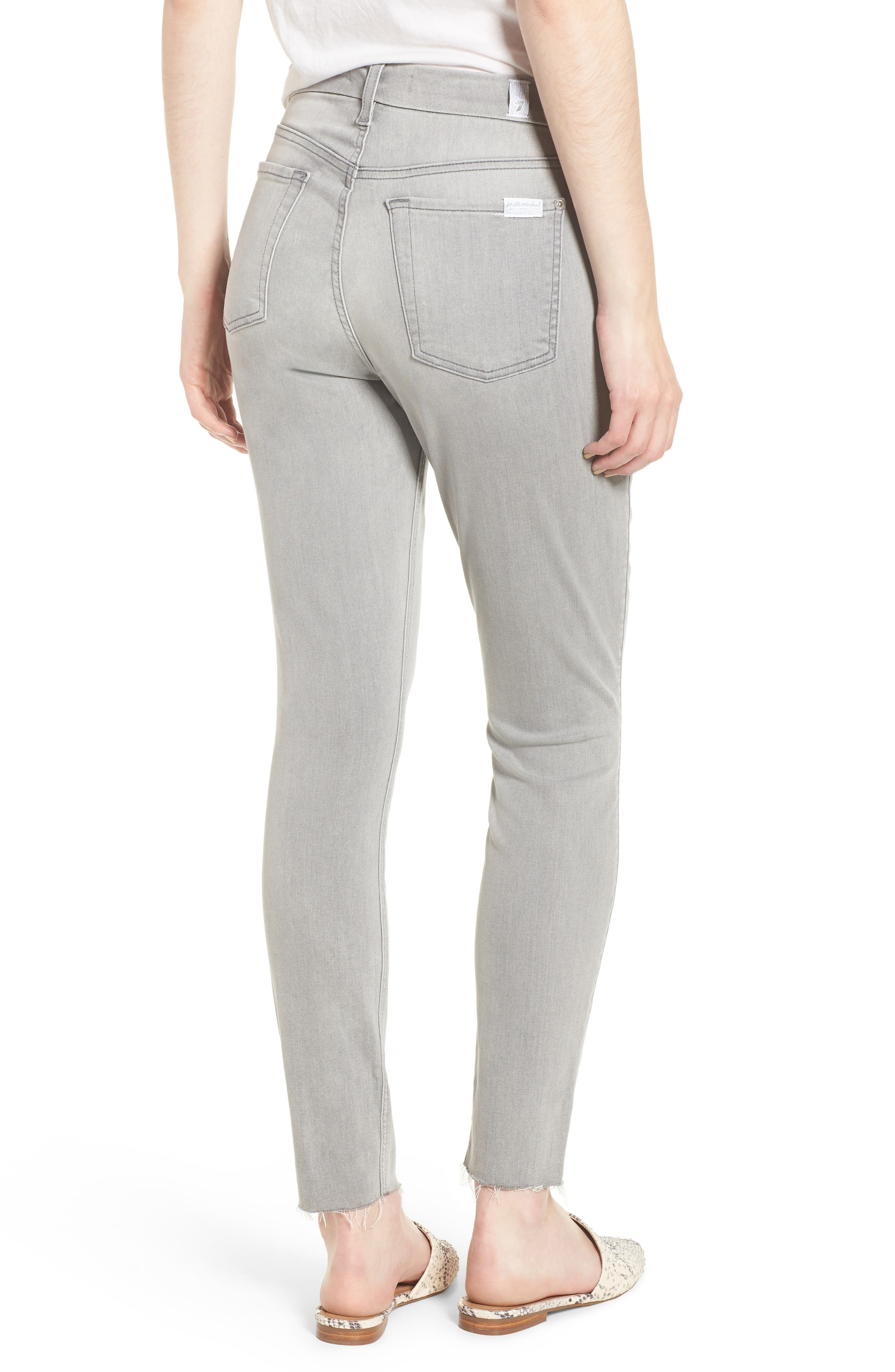 7 FOR ALL MANKIND<SUP>®</SUP>, b(air) High Waist Raw Hem Ankle Skinny Jeans, Alternate thumbnail 2, color, BAIR PURE SOFT GREY