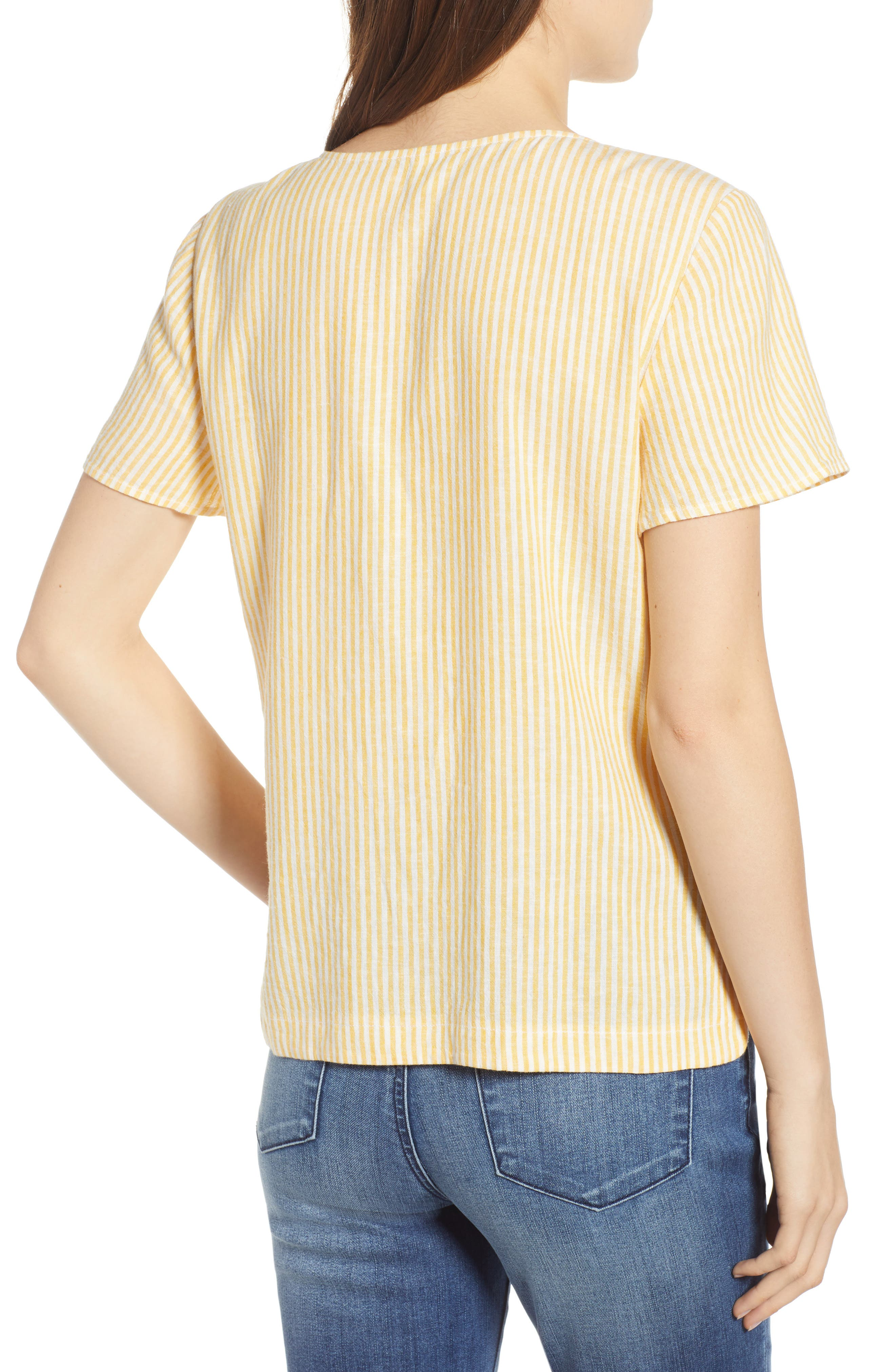 BP., Button Front Linen Blend Top, Alternate thumbnail 3, color, YELLOW WHIP MARA STRIPE