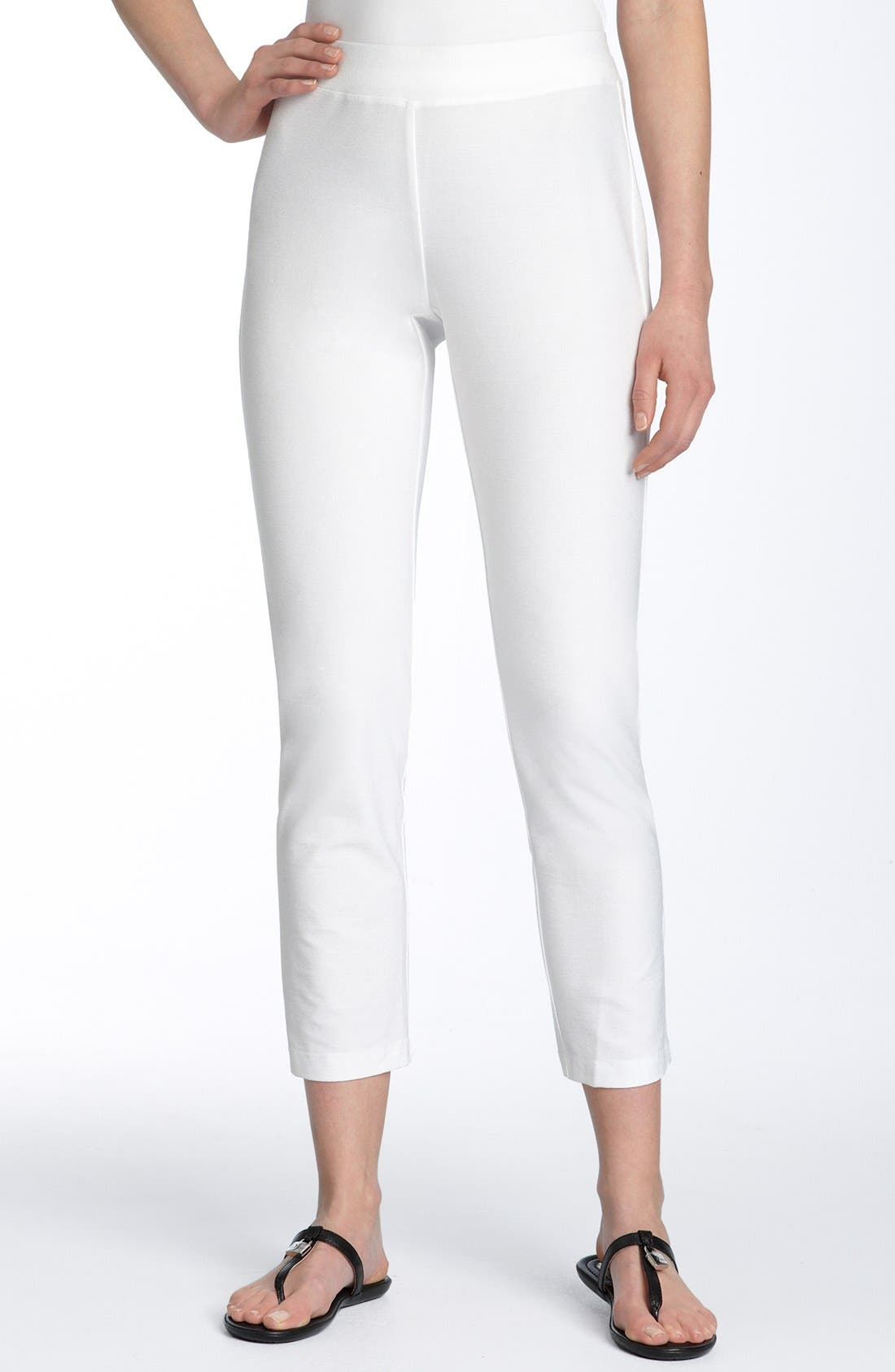 EILEEN FISHER, Crepe Ankle Pants, Main thumbnail 1, color, WHITE