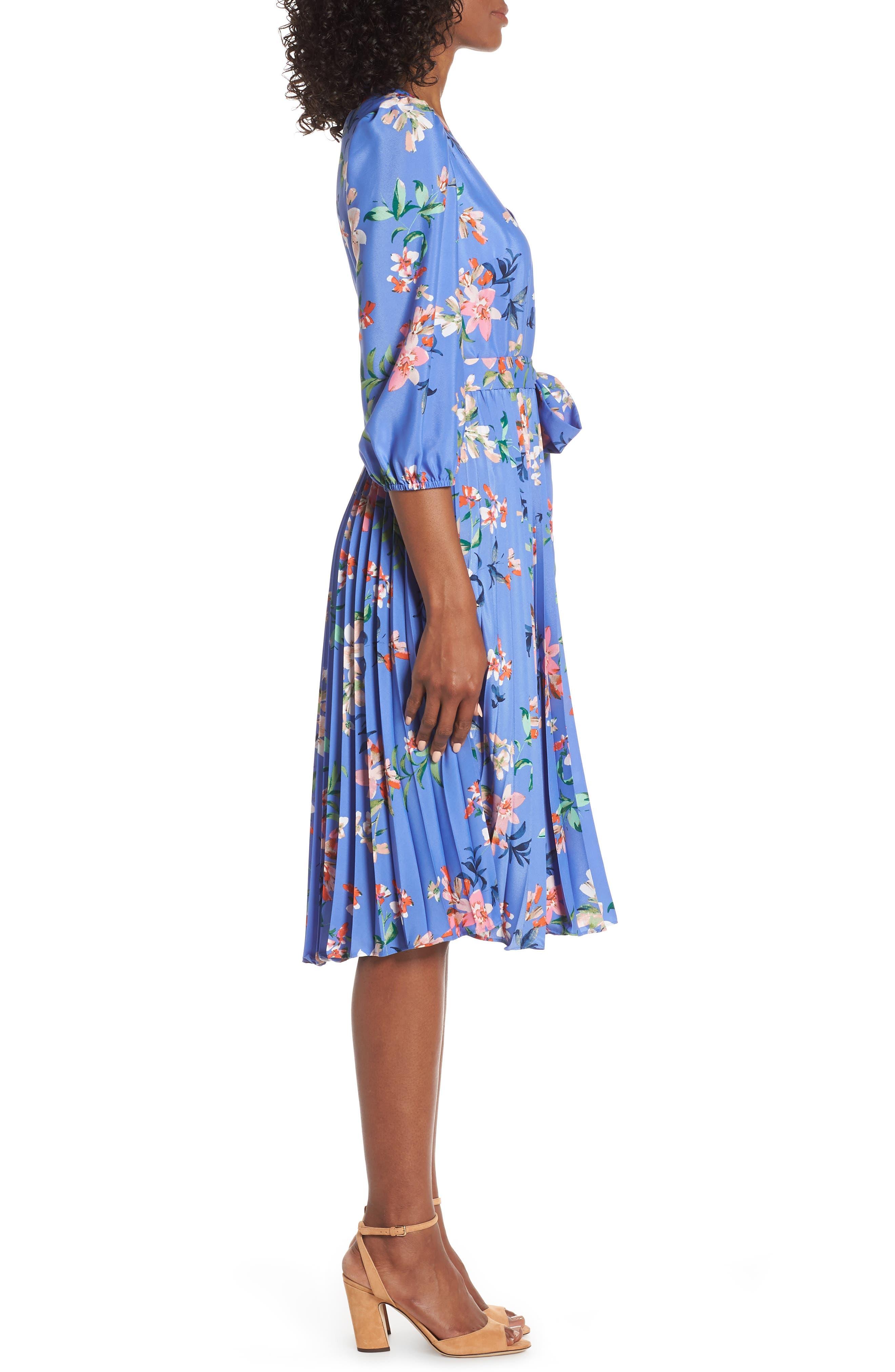 ELIZA J, Pleated Faux Wrap Dress, Alternate thumbnail 4, color, BLUE